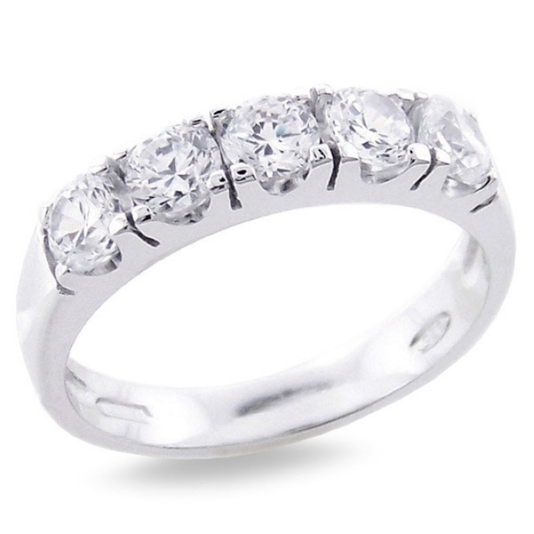 """Ring In 925 Sterling Silver Riviera Five Stone Cubic Zirconia With Regard To Most Current Diamond Five Stone """"s"""" Anniversary Bands In Sterling Silver (View 16 of 25)"""