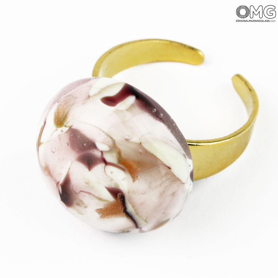 Ring Valeria – Lamp Working – Original Murano Glass Omg With Regard To Most Recent Pink Murano Glass Leaf Rings (View 7 of 25)