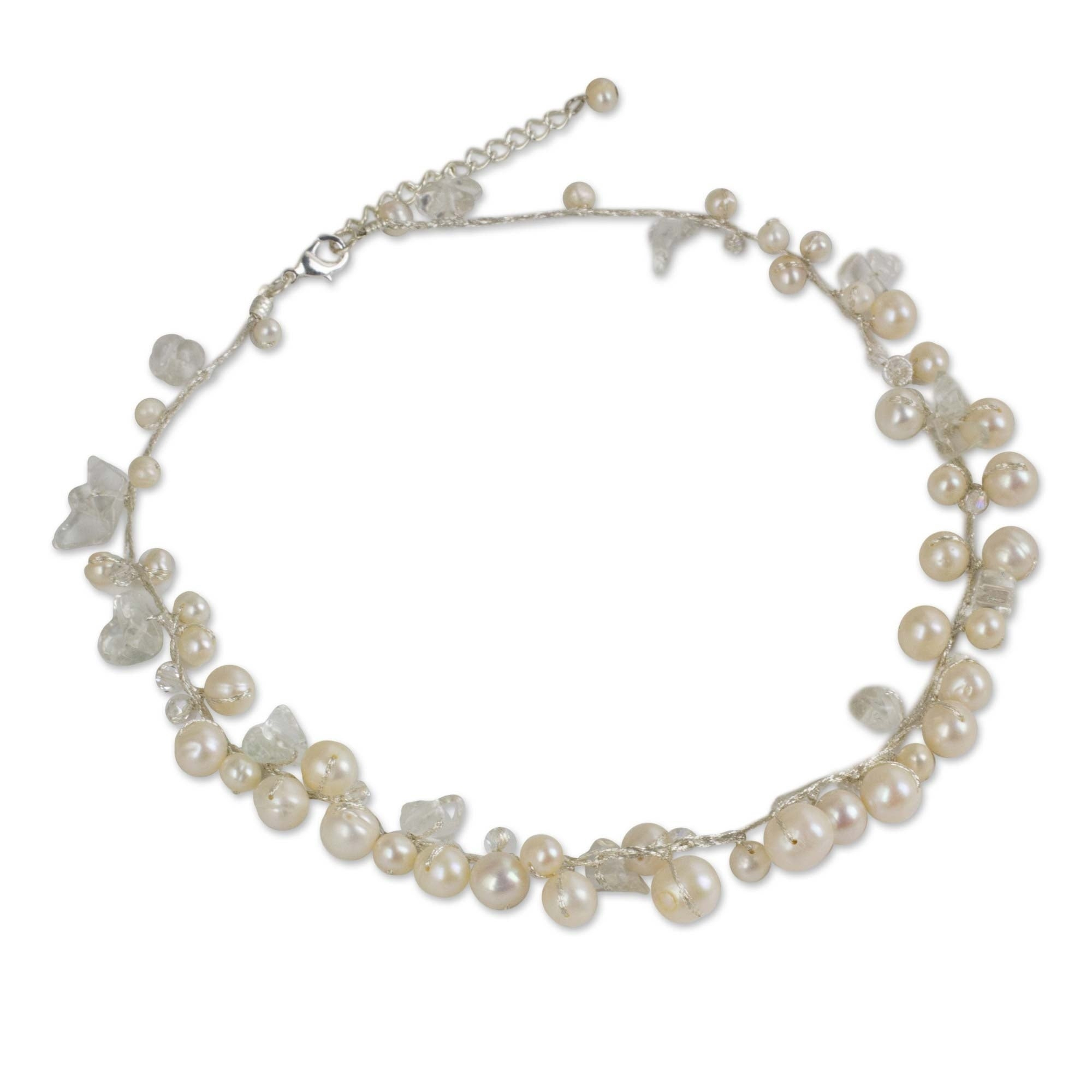 River Of Snow White Freshwater Pearls And Crystal Beads On Silk Thread Fluid Adjustable Length Womens Choker Necklace (thailand) For Current Freshwater Cultured Pearls & Beads Necklaces (View 11 of 25)
