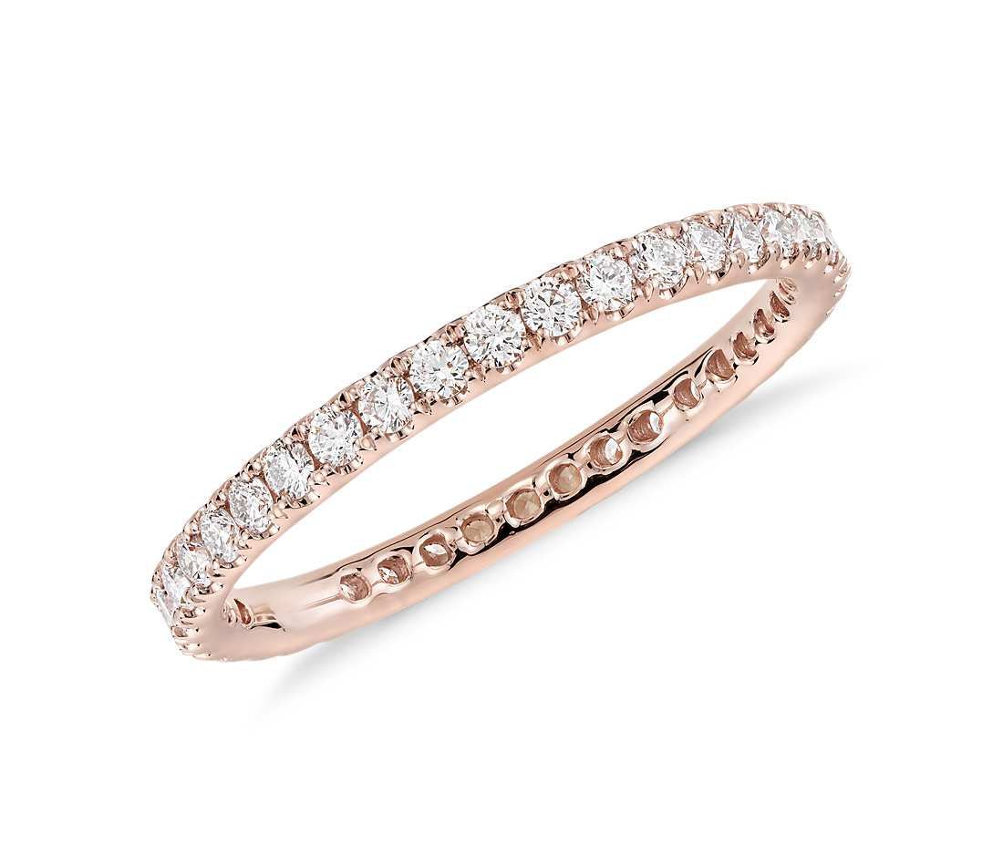 Riviera Pavé Diamond Eternity Ring Intended For Most Recent Diamond Station Anniversary Bands In Rose Gold (View 16 of 25)