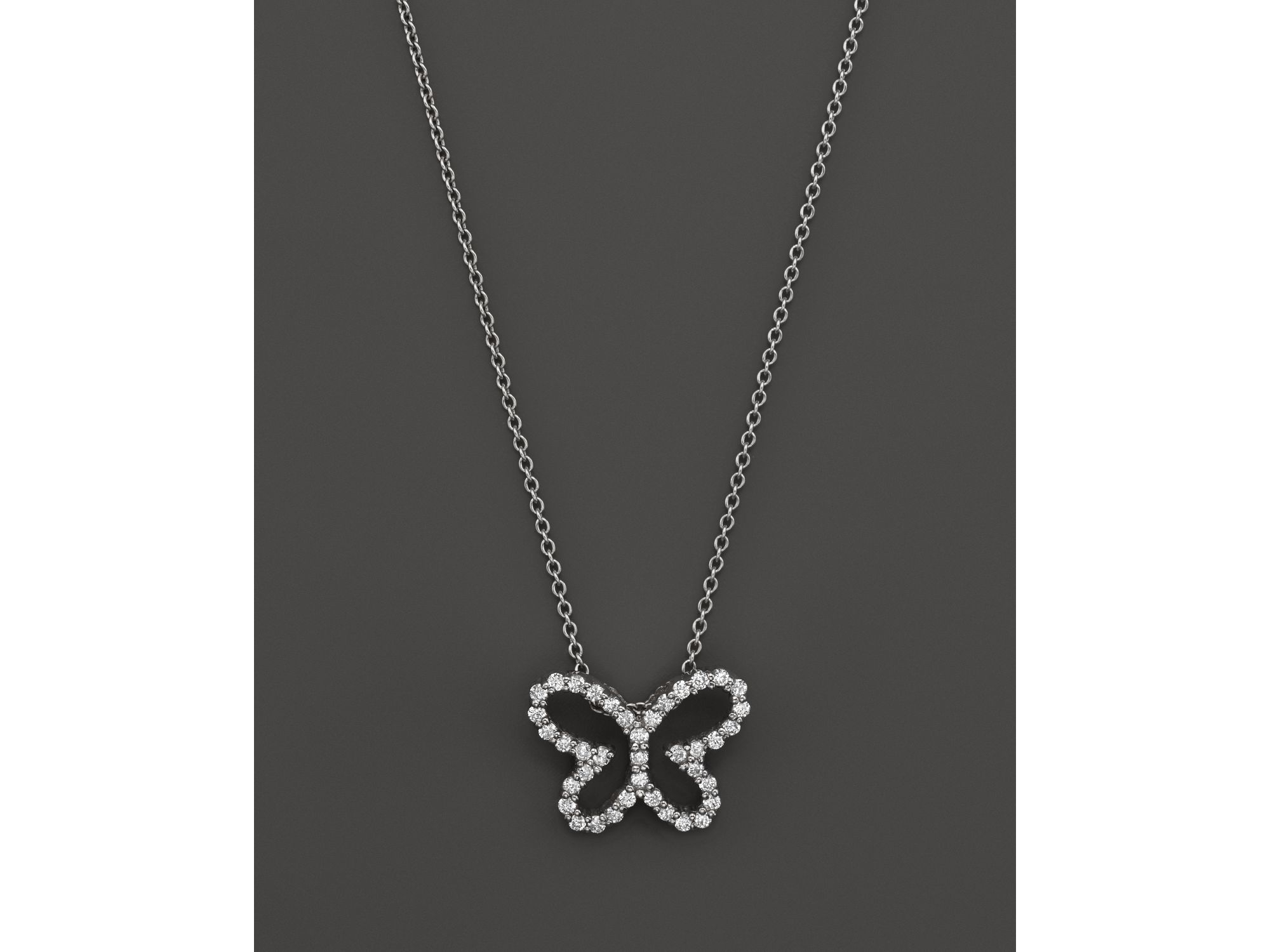 """Roberto Coin Metallic 18K White Gold Diamond Butterfly Pendant Necklace, 16"""" In Most Recent Pink Pavé Butterfly Collier Necklaces (Gallery 22 of 25)"""