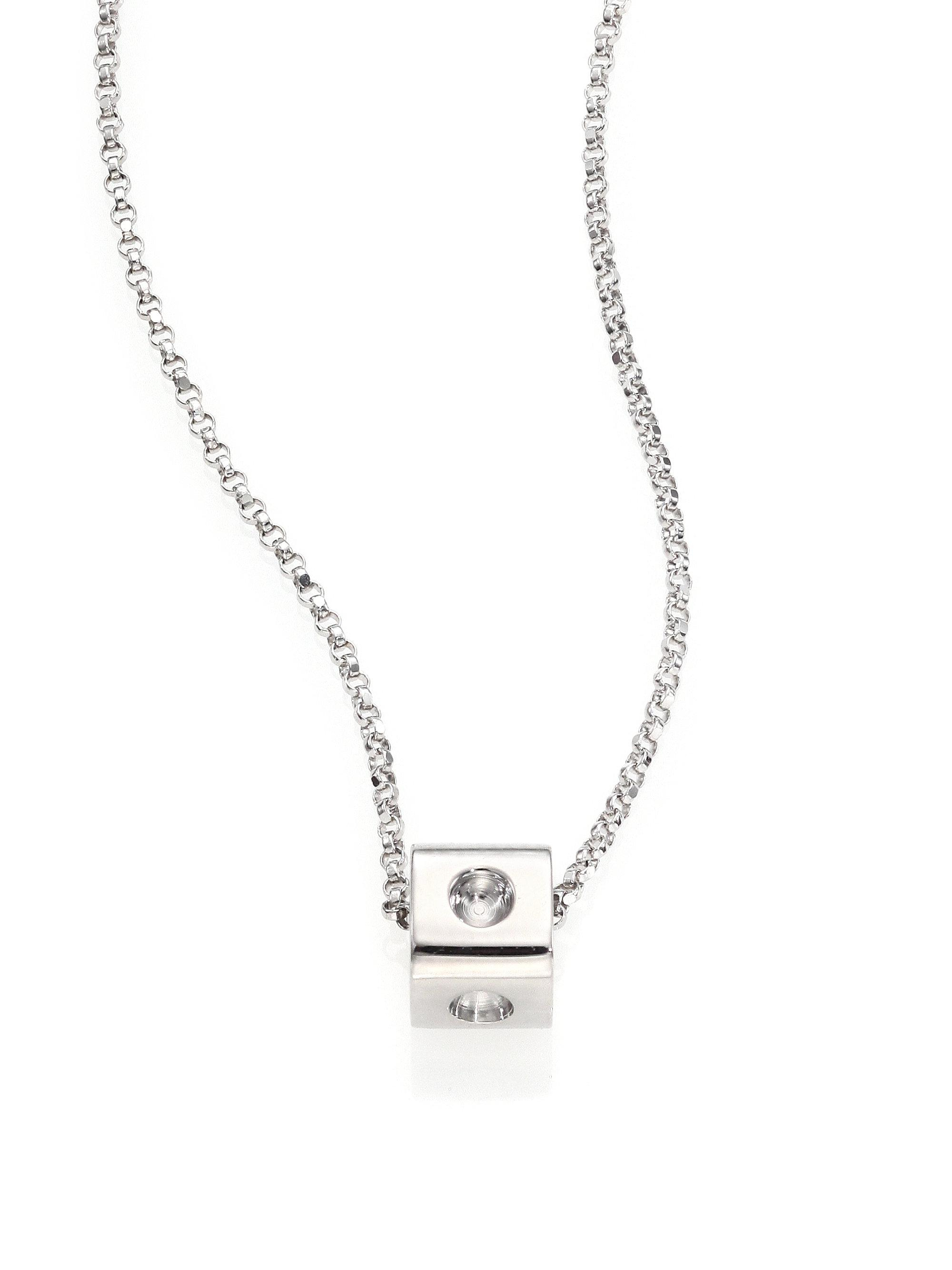 Roberto Coin Metallic Pois Moi 18k White Gold Mini Cube Pendant Necklace Inside Most Current Sparkling Ice Cube Circle Pendant Necklaces (View 2 of 25)