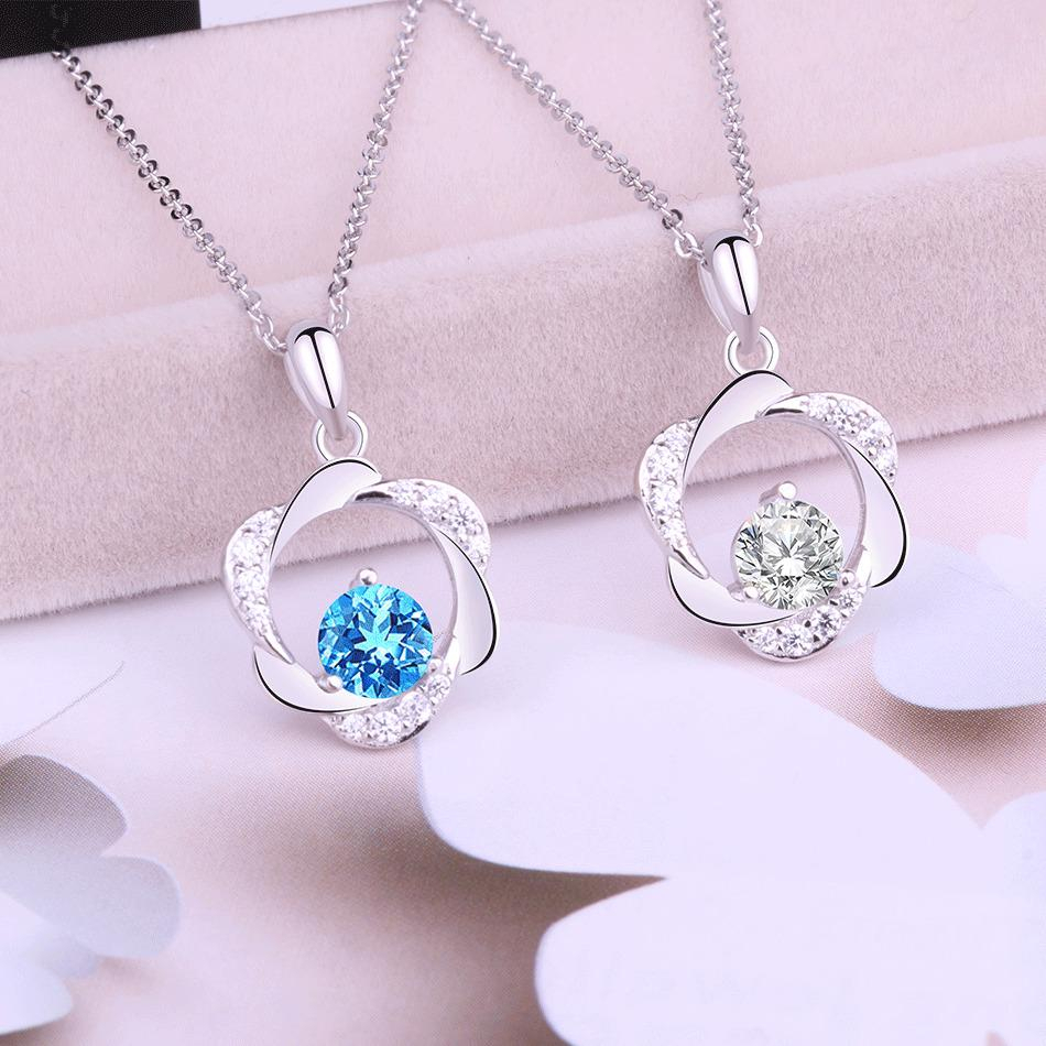 Romantic Flowers Jewel Blue Necklaces Sparkling Elegant Lady Independent Package Simple Trendy Necklace Choker 2018 New Pattern Pertaining To Most Current Sparkling Pattern Necklaces (View 2 of 25)
