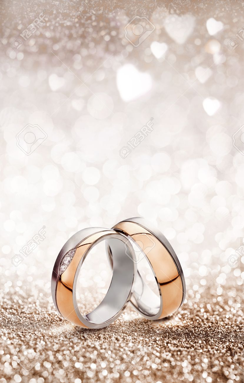 Romantic Wedding Ring Celebration Background With Two Gold Rings. (View 14 of 25)
