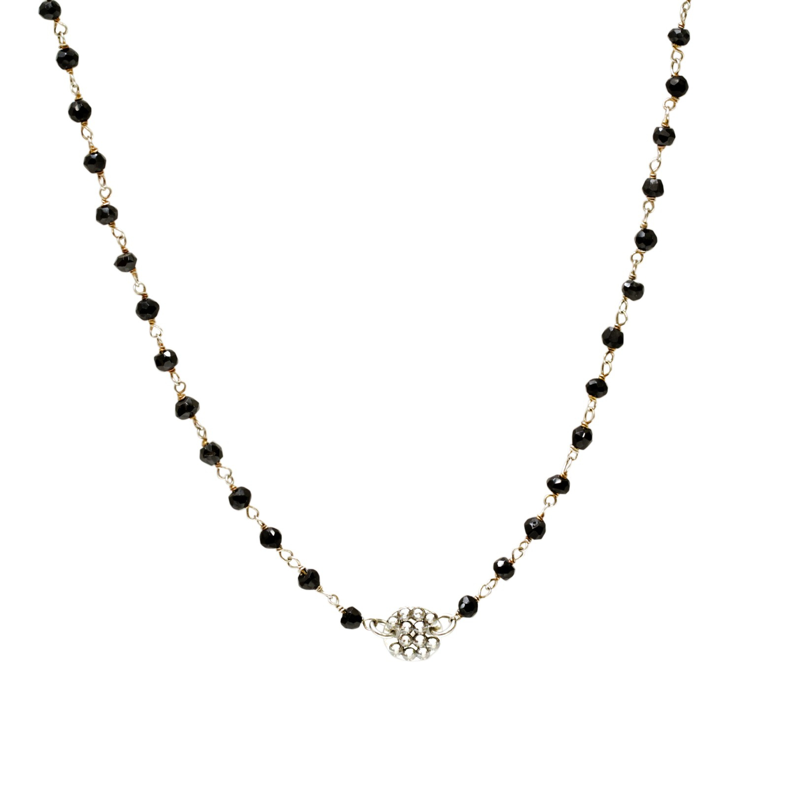 Roni Blanshay Iolite Beaded With Pave Crystal Disc Necklace With Regard To Most Recent Beads & Pavé Necklaces (View 16 of 25)