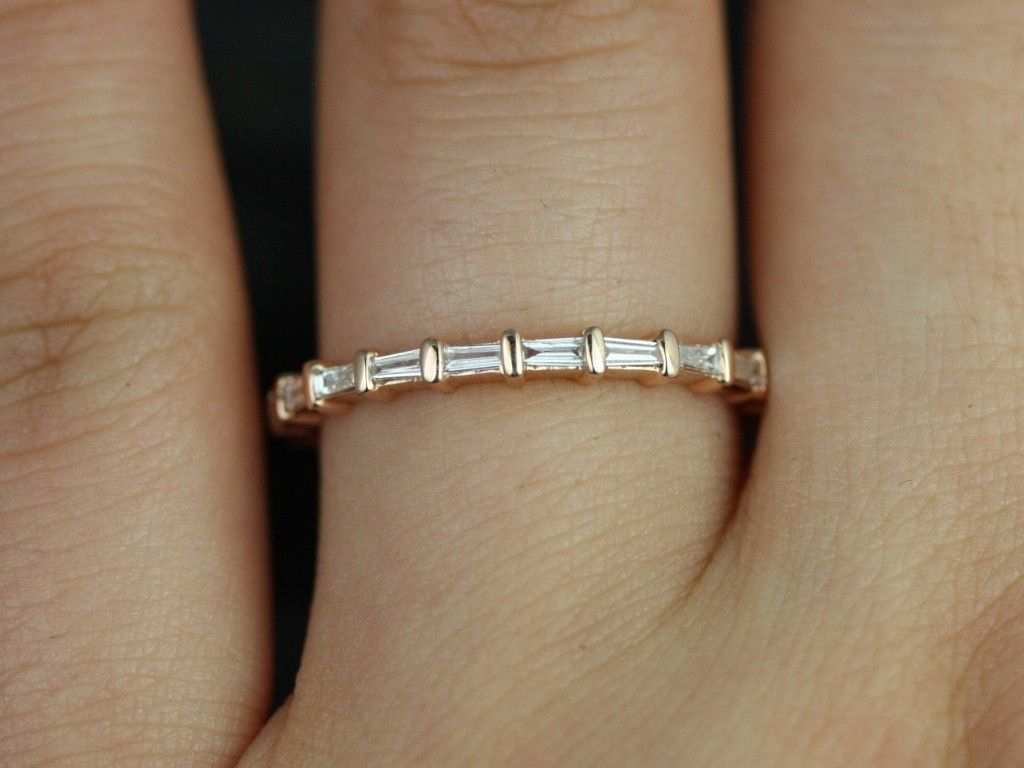 Rosados Box Baguettella 14Kt Rose Gold Thin Horizontal With Regard To Recent Diamond Station Anniversary Bands In Rose Gold (Gallery 4 of 25)