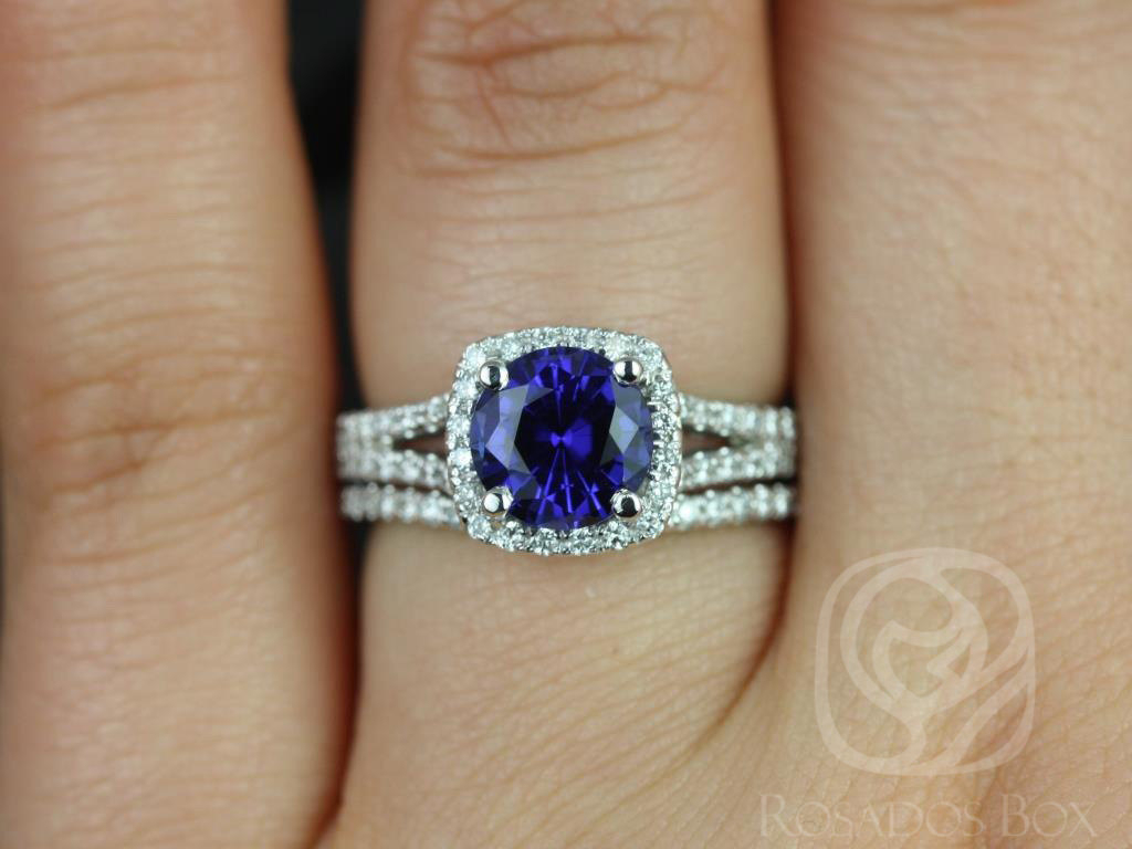 Rosados Box Pasley 7Mm 14Kt White Gold Blue Sapphire Diamond Intended For Most Current Blue Square Sparkle Halo Rings (Gallery 10 of 25)