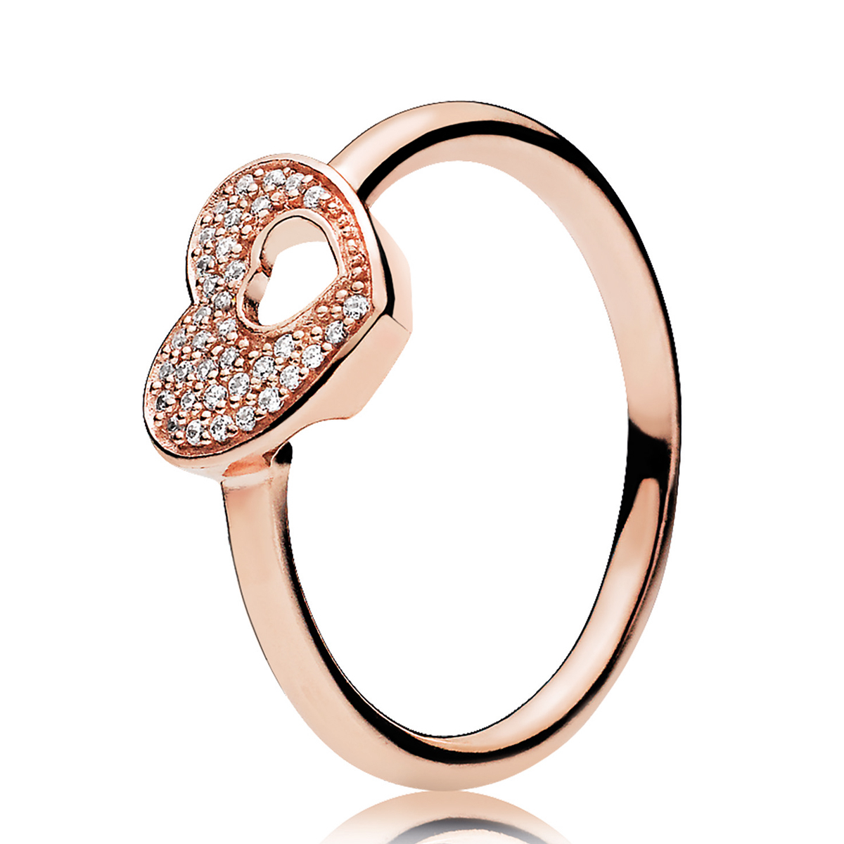 Rose™ & Clear Cz Shimmering Puzzle Heart Frame Pandora Ring 186550cz For Most Recently Released Pavé Puzzle Heart Rings (View 3 of 25)