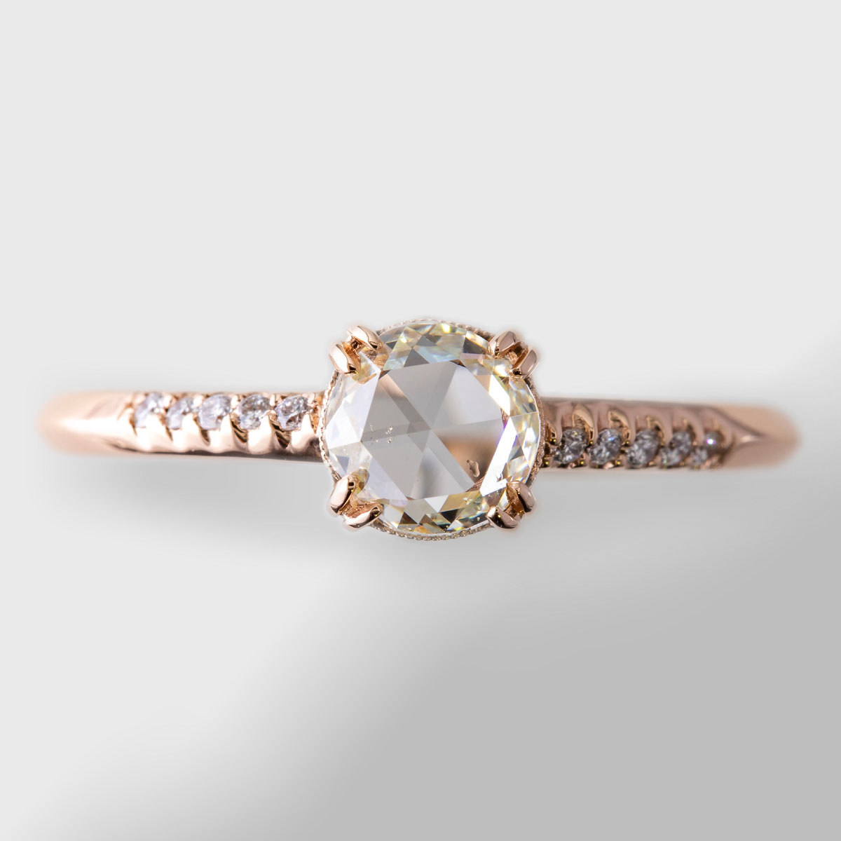 Rose Cut Diamond In Rose Gold With Most Recent Champagne And White Diamond Edge Anniversary Bands In Rose Gold (View 15 of 25)