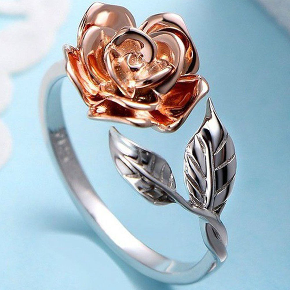 Rose Flower Leaf Open Ring For Women Copper Adjustable Rings Fashion Jewelry Uk Throughout Latest Clear Heart Beaded Rings (View 12 of 25)