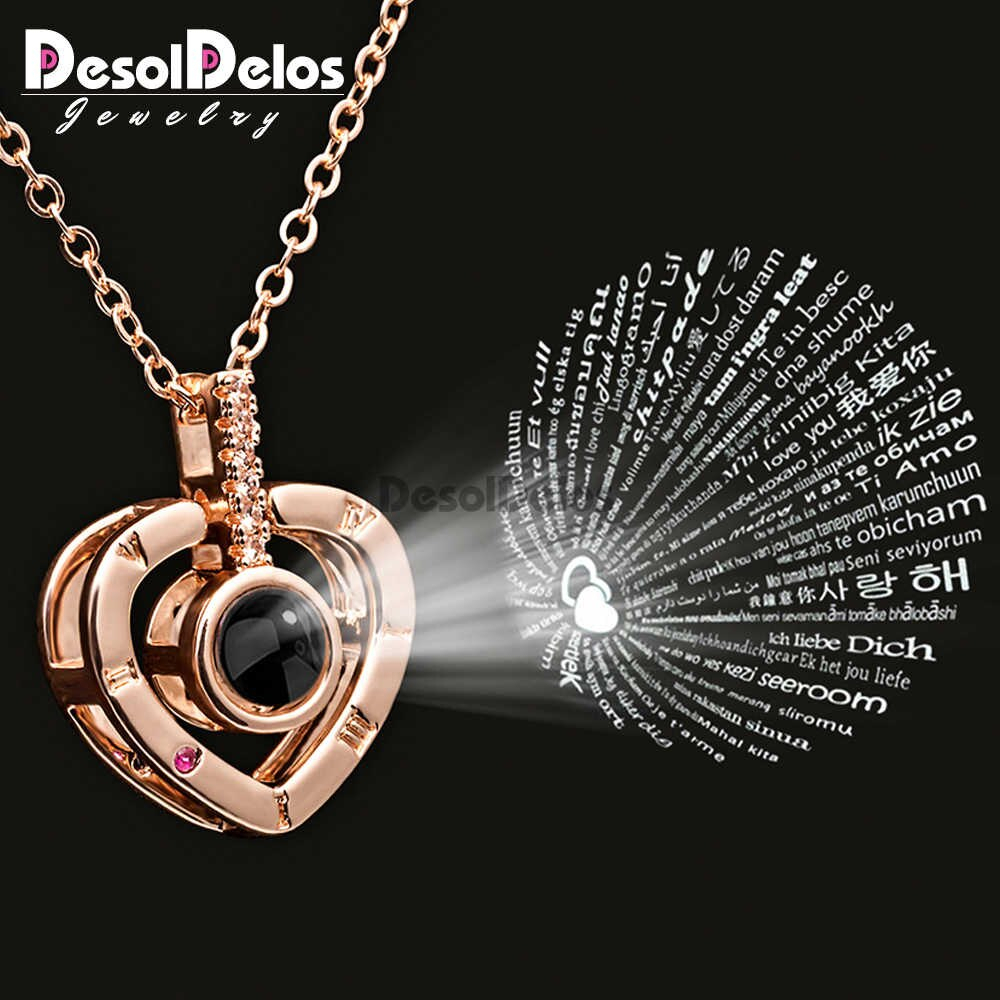 Rose Gold 100 Languages I Love You Projection Pendant Necklace Jewelry Silver Round Choker Wedding Valentine's Day Romantic Gift With Latest Heart & Love You More Round Pendant Necklaces (View 3 of 25)