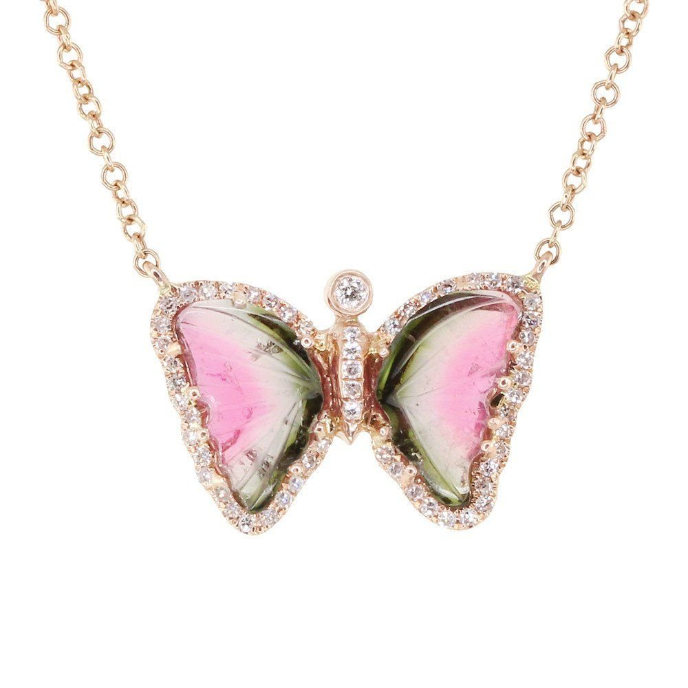 Rose Gold And Diamond Watermelon Tourmaline Baby Butterfly Necklace Within Recent Pink Pavé Butterfly Collier Necklaces (View 15 of 25)