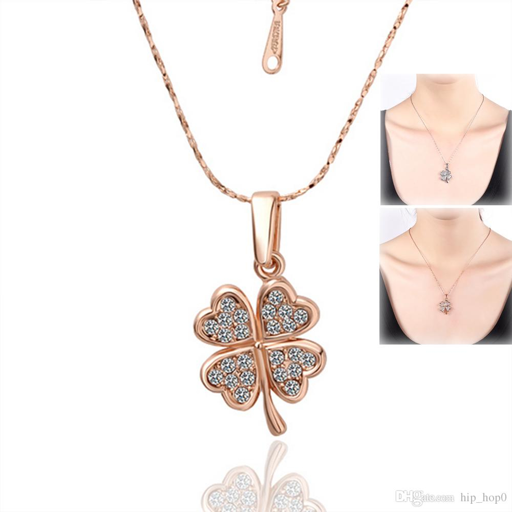 Rose Gold Austria Crystal Four Leaf Clover Charm Pendant Necklace White  Gold Plated 18K Gold Fashion Women Wedding Jewelry Lucky Gril Gifts Regarding Most Current Lucky Four Leaf Clover Dangle Charm Necklaces (View 19 of 25)