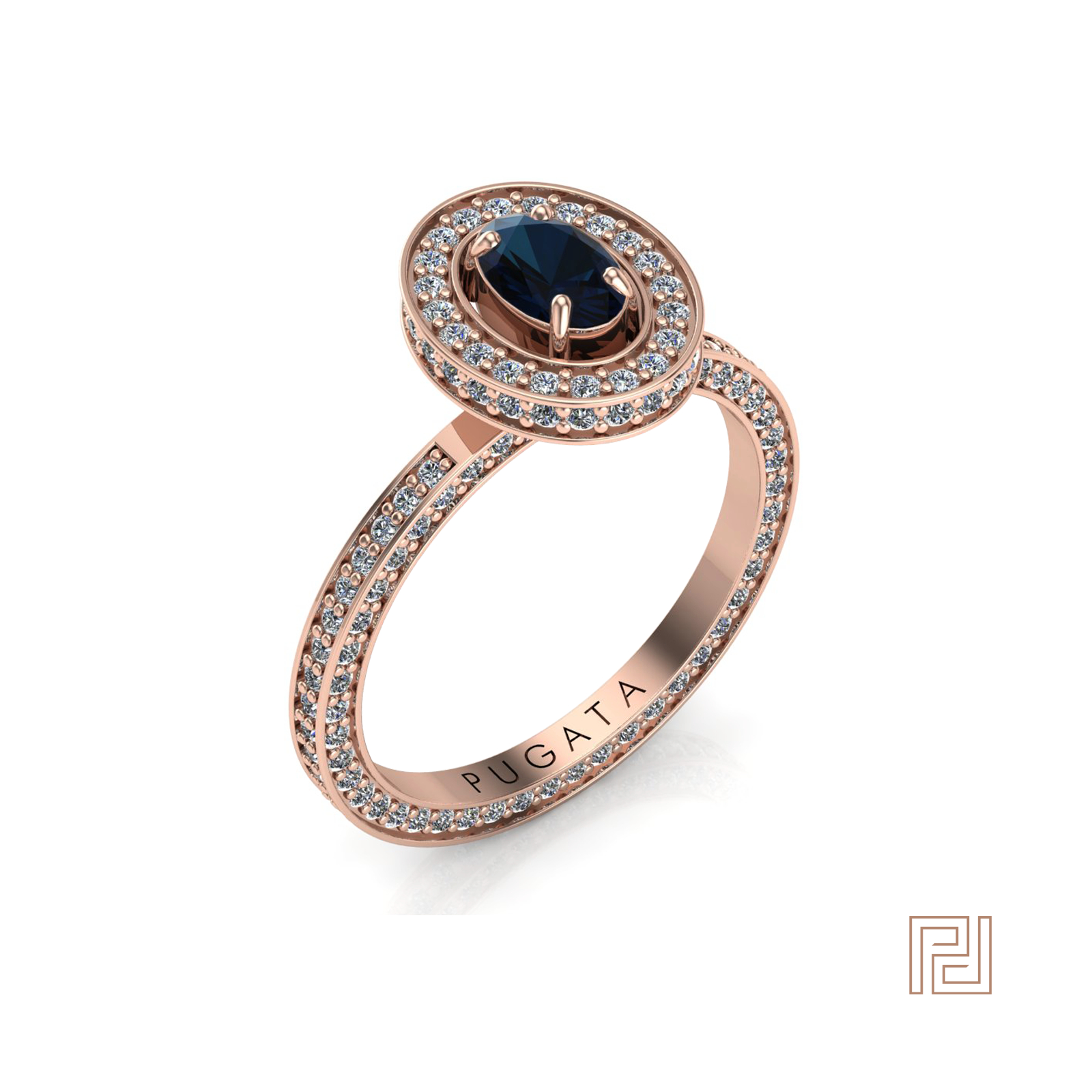 Rose Gold Blue Sapphire Stella Halo Ring Pertaining To Current Blue Square Sparkle Halo Rings (Gallery 8 of 25)