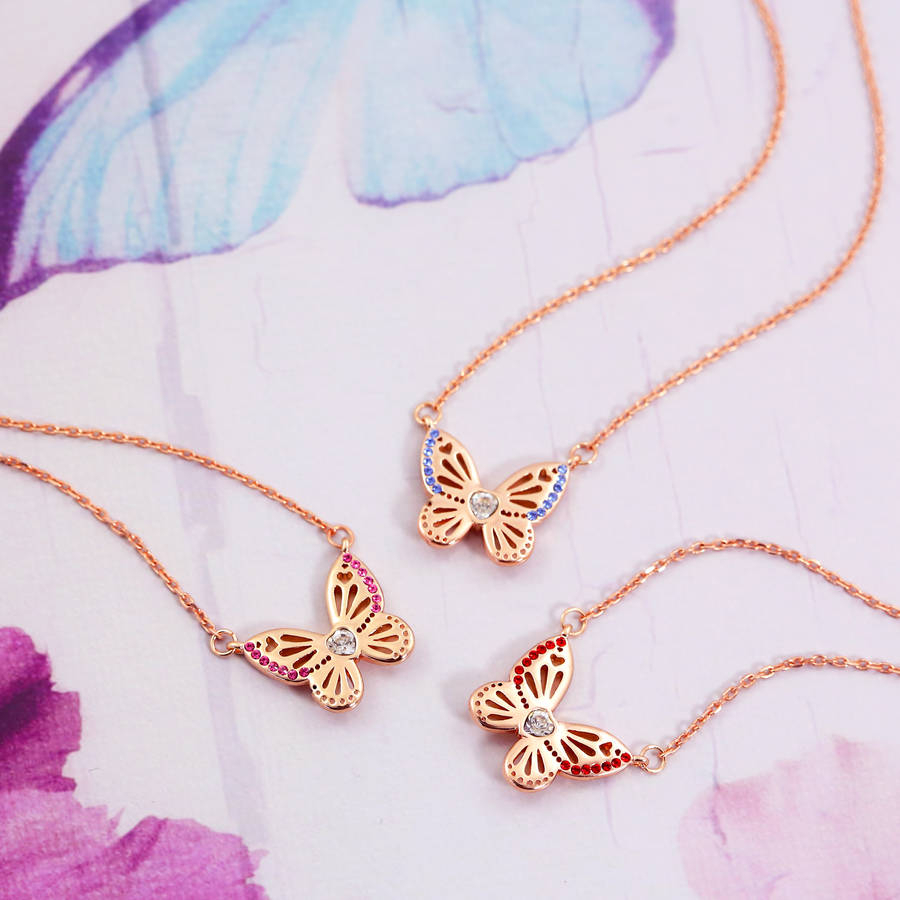 Rose Gold Butterfly Birthstone Necklace Pertaining To 2020 Pink Butterfly Locket Element Necklaces (View 14 of 25)