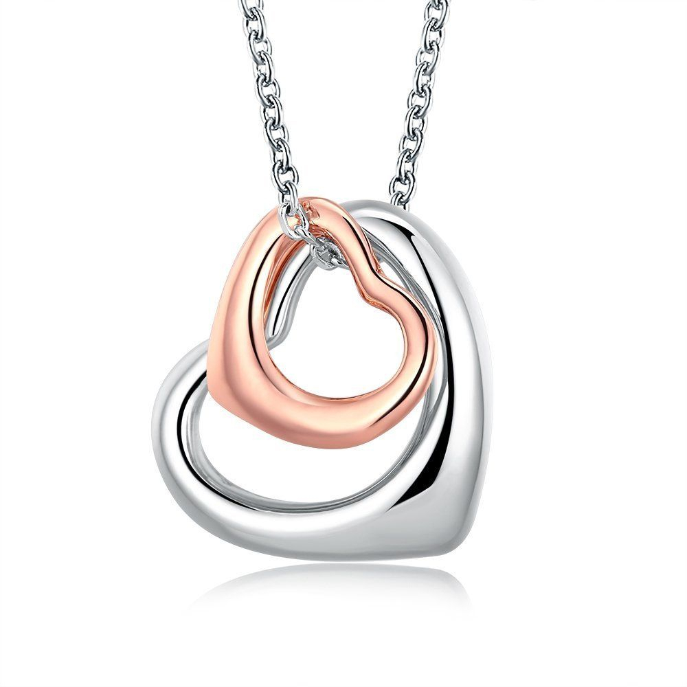 Rose Gold Charm Double Heart Silver Pendant Necklace Eternal A Inside Most Current Interlocked Hearts Locket Element Necklaces (View 3 of 25)