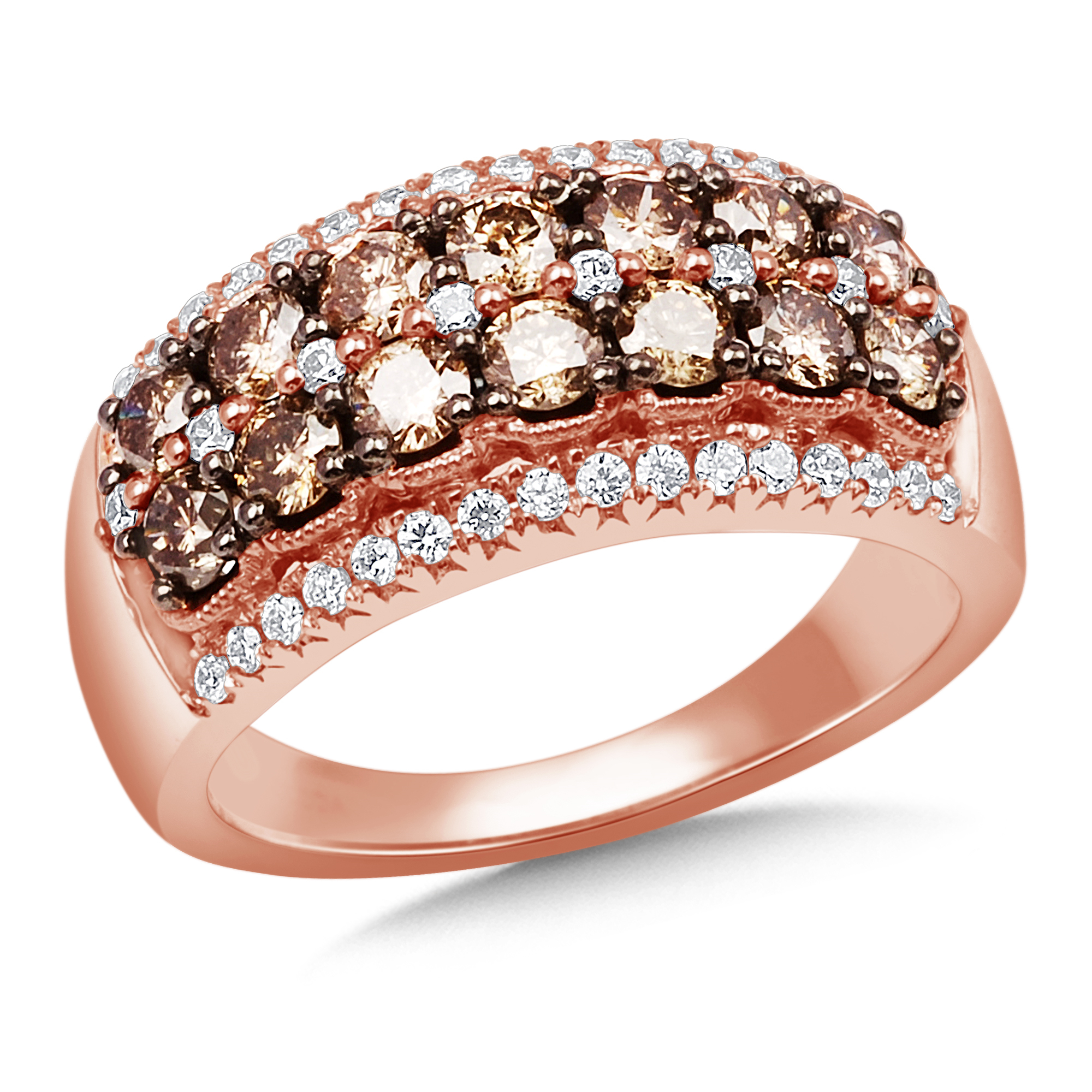 Rose Gold Color Diamond Ring With Most Current Diamond Station Anniversary Bands In Rose Gold (View 18 of 25)