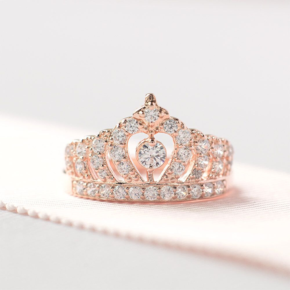 Rose Gold Crown Ring – Sterling Silver Tiara Ring – Princess Crown Pertaining To Most Recent Princess Tiara Crown Rings (View 1 of 25)