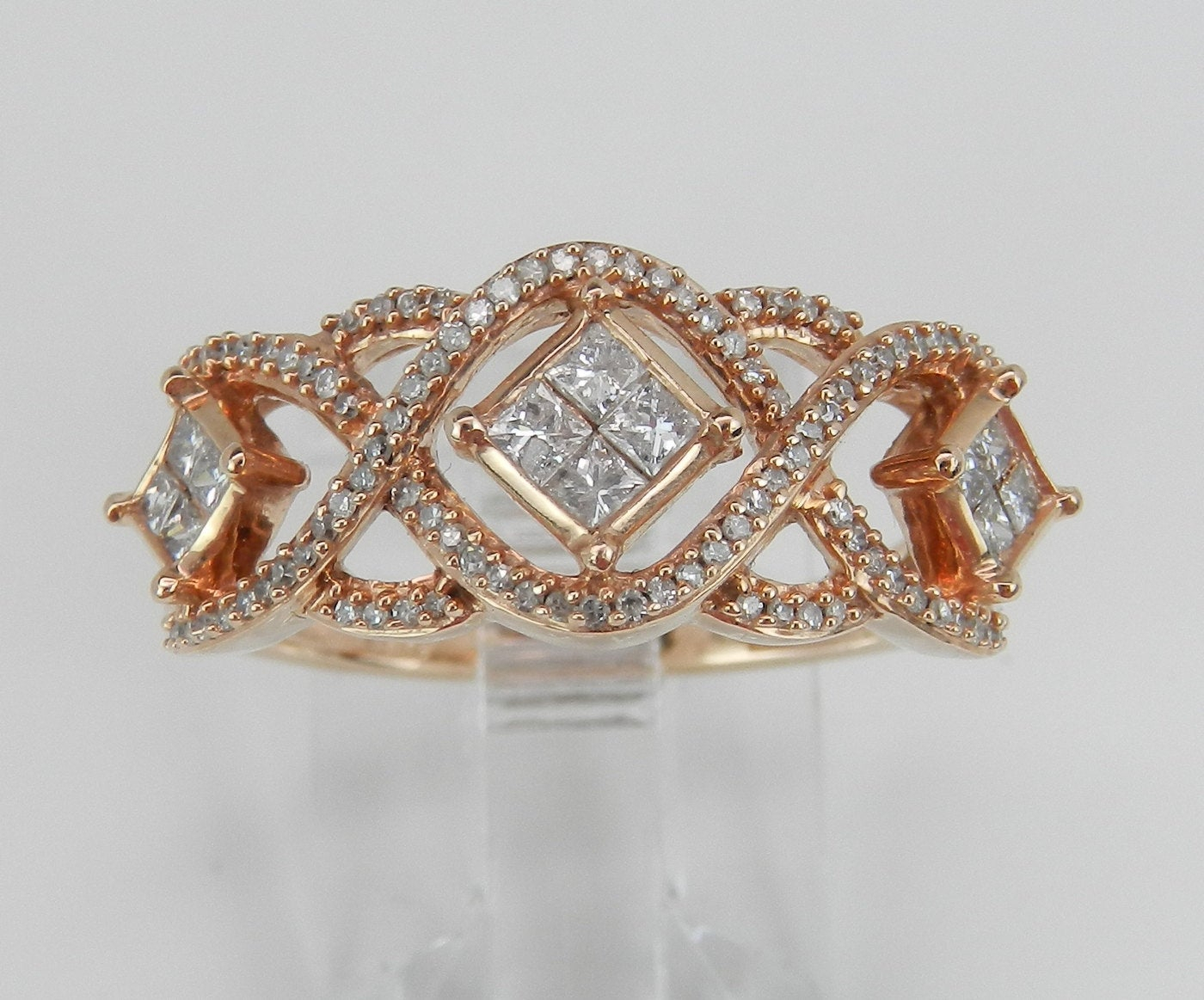 Rose Gold Diamond Ring, Diamond Wedding Ring, Pink Gold In Most Current Diamond Vintage Style Anniversary Bands In Rose Gold (View 17 of 25)