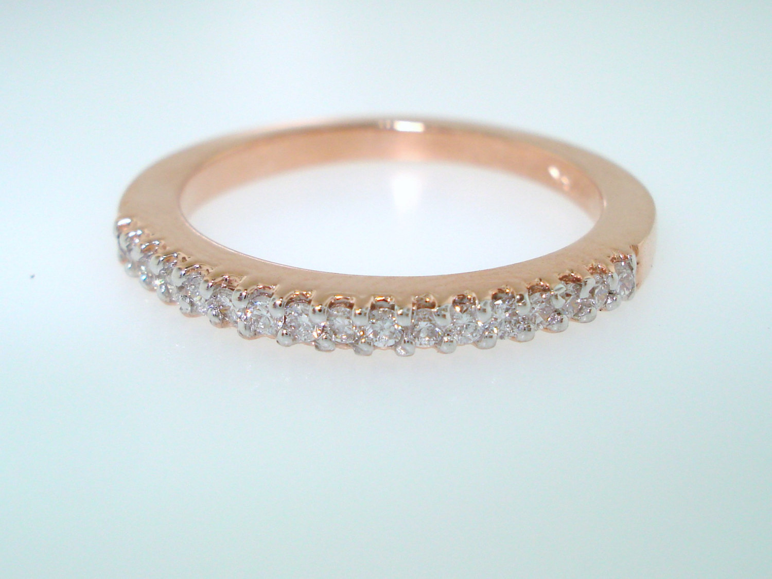 Rose Gold Diamond Wedding Ring, Half Eternity Wedding Band, Stackable Band (View 13 of 25)