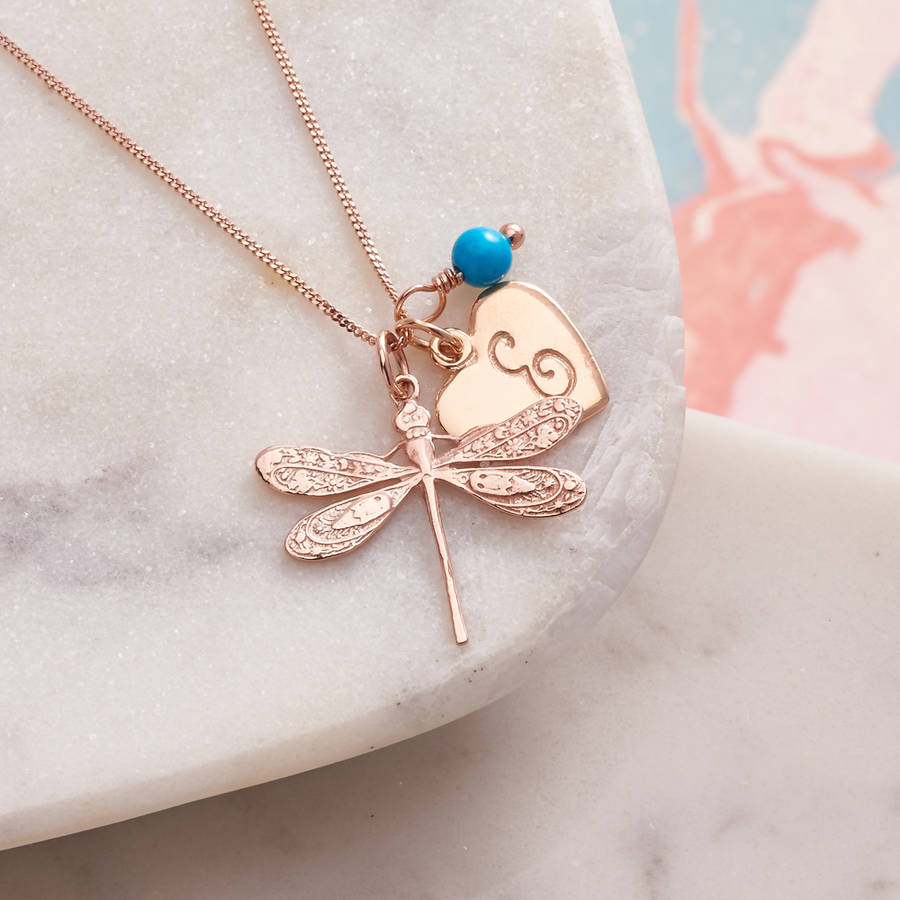 Rose Gold Dragonfly Necklace With Birthstones With Most Current Sparkling Dragonfly Y  Necklaces (View 21 of 25)