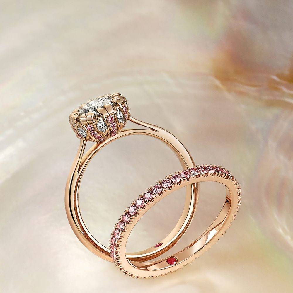 Rose Gold Engagement Rings | Taylor & Hart Throughout 2019 Diamond Vintage Style Three Row Anniversary Bands In White Gold (Gallery 25 of 25)