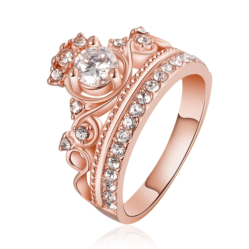 Rose Gold Finished Fashion Female Ring Princess Tiara, Gold Princess Within Most Up To Date Princess Tiara Crown Rings (View 21 of 25)