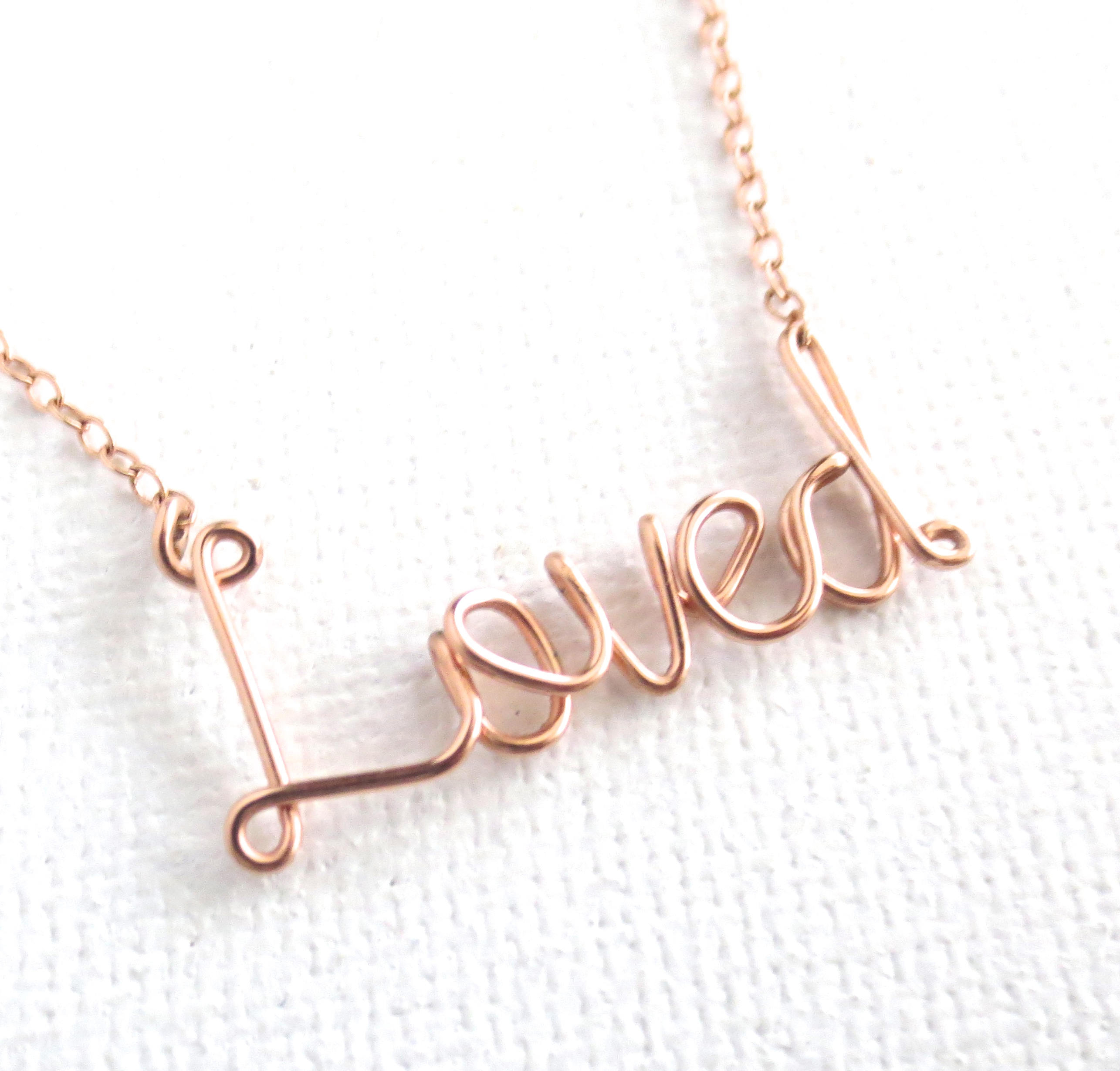 Rose Gold Loved Necklace. 14K Rose Gold Filled Love Necklace. Pink Gold Filled Love Script Wire Necklace (View 23 of 25)