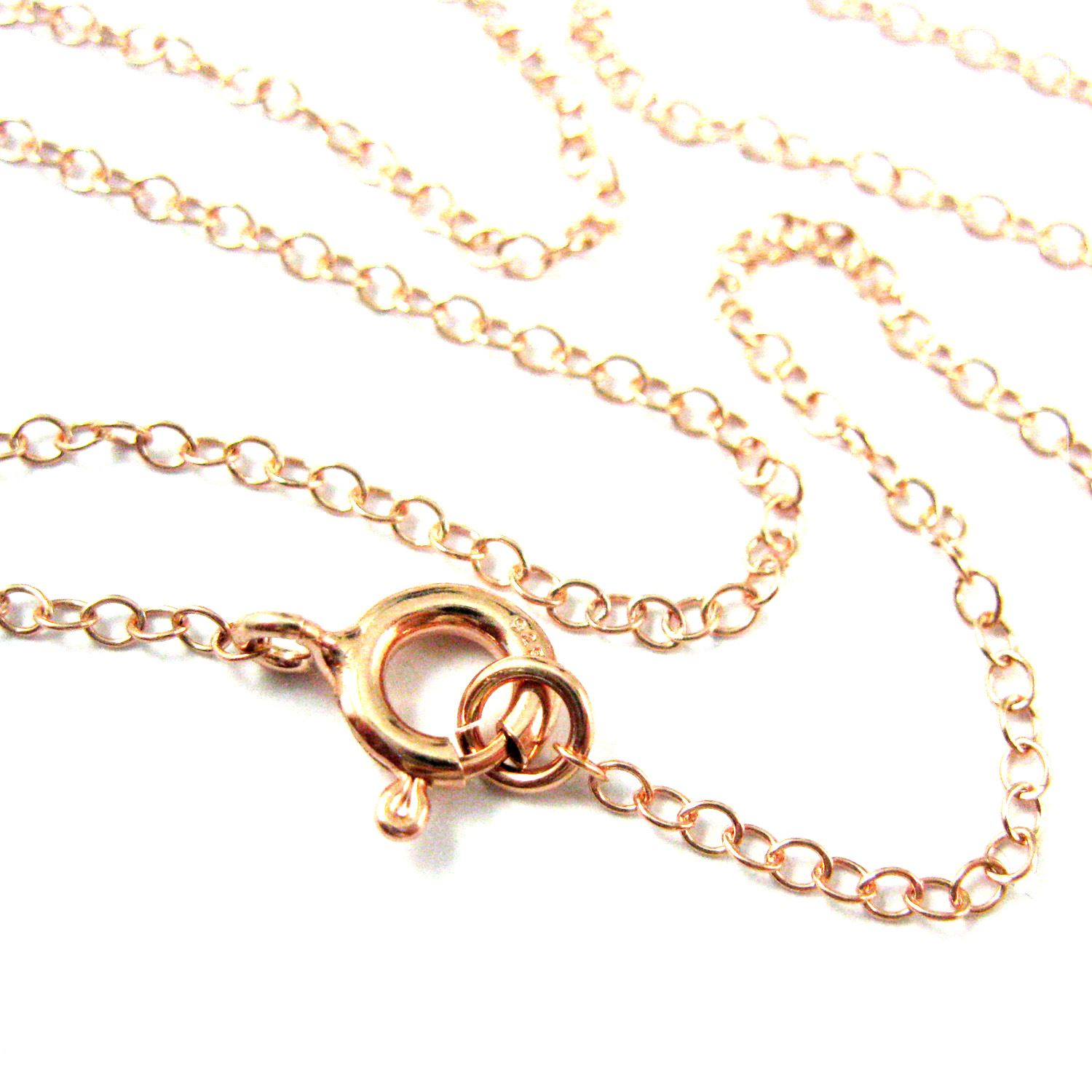 Rose Gold Necklace – Rose Gold Plated Over Sterling Silver Chain – 2Mm  Cable Chain Necklace – Finished For Pendant  All Sizes Intended For Newest Cable Chain Necklaces (Gallery 7 of 25)