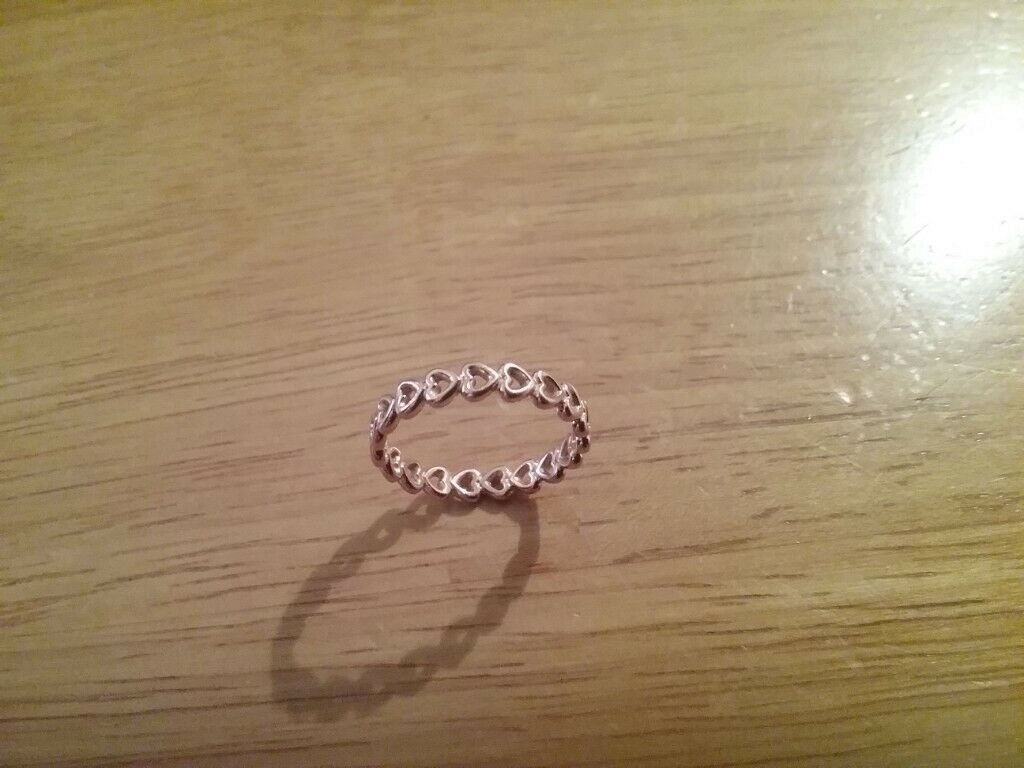 Rose Gold Pandora Linked Love Heart Band Ring – Pre Engagement Ring Throughout Latest Band Of Hearts Rings (View 18 of 25)