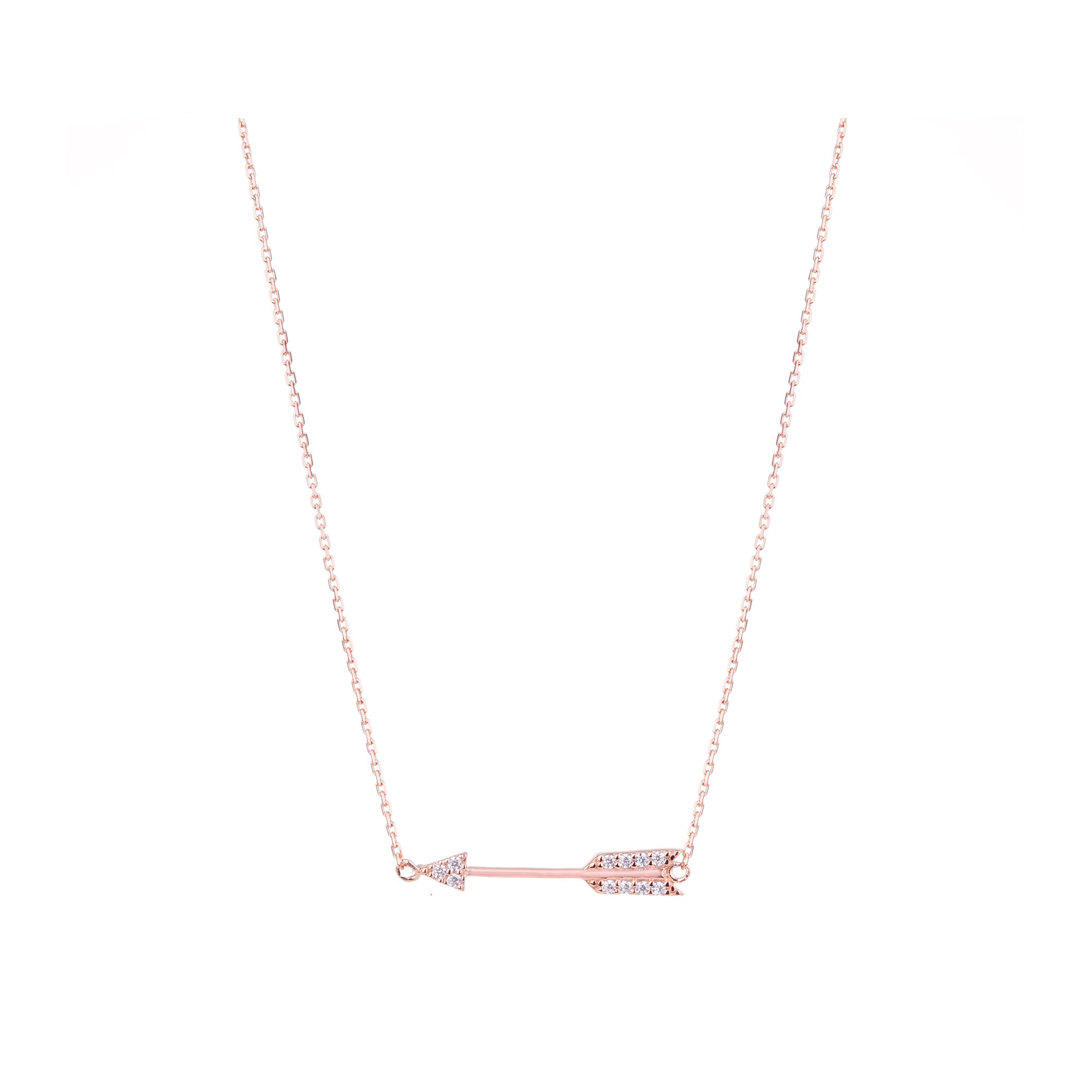 Rose Gold Plated 925 Sterling Silver Cz Mini Arrow Necklace In Most Current Sparkling Arrow Necklaces (View 18 of 25)