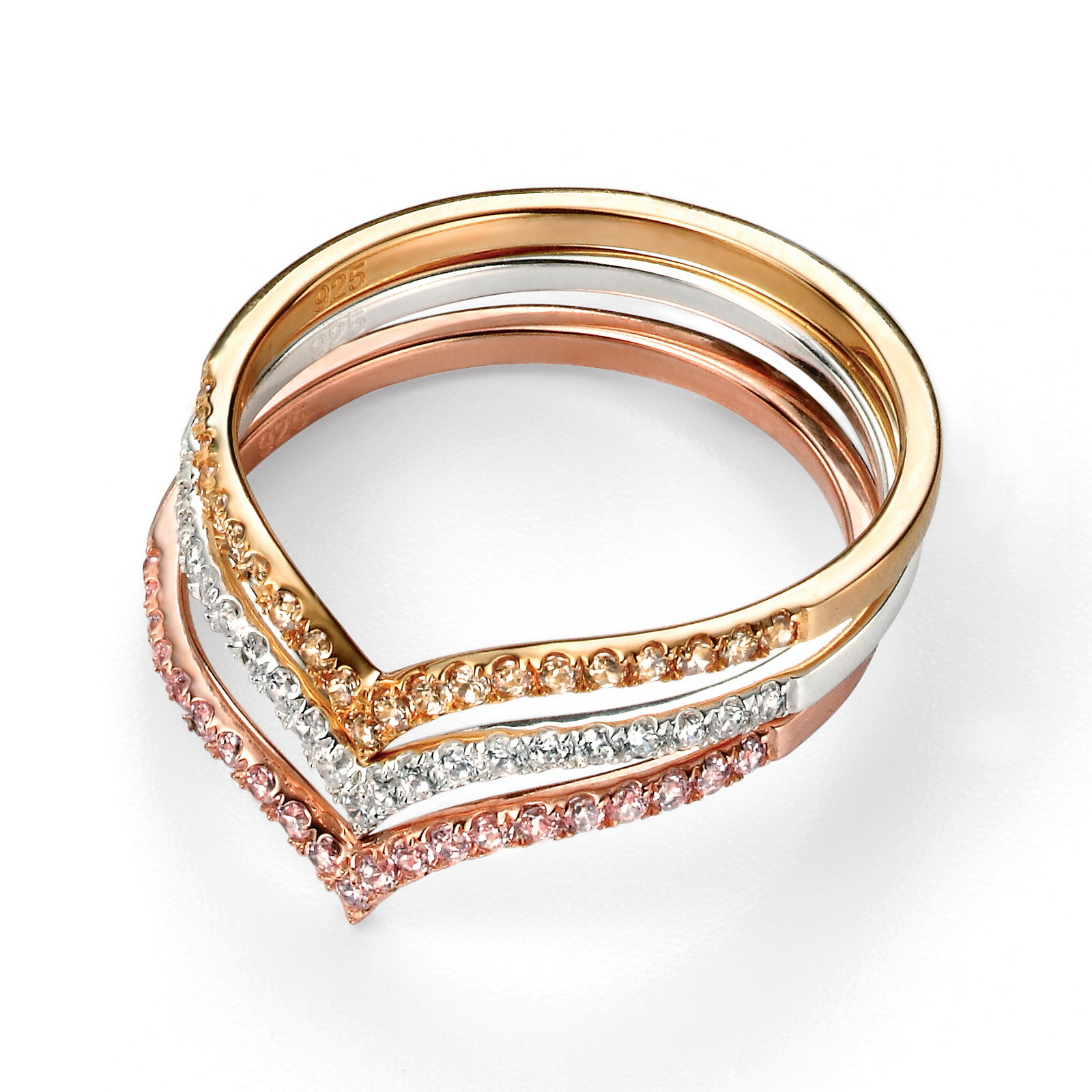 Rose Gold Plated And Pink Cz Wishbone Ring For Most Popular Classic Wishbone Rings (View 23 of 25)