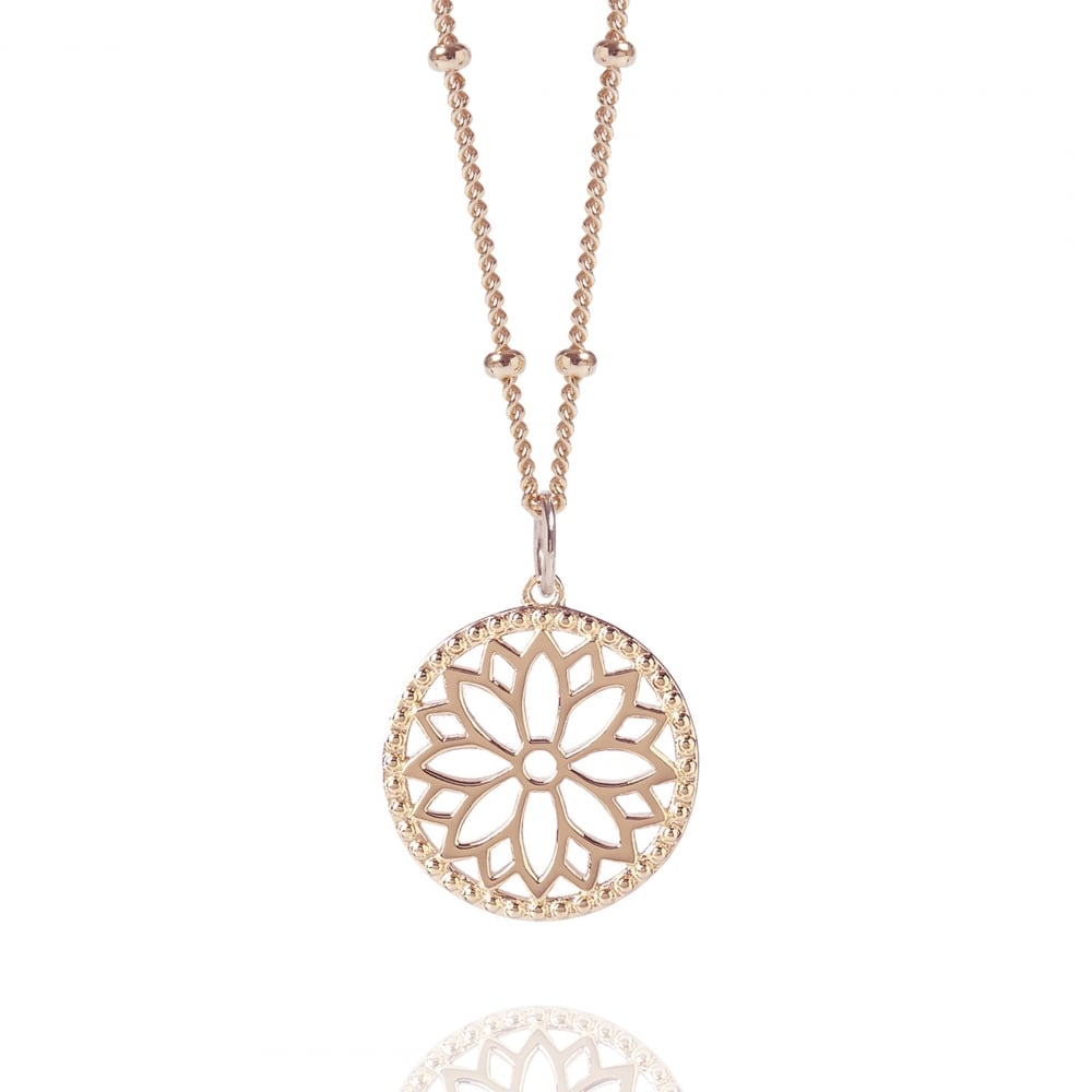 Rose Gold Purity Mandala Charm Necklace With Beaded Chain For Current Beaded Chain Necklaces (View 12 of 25)