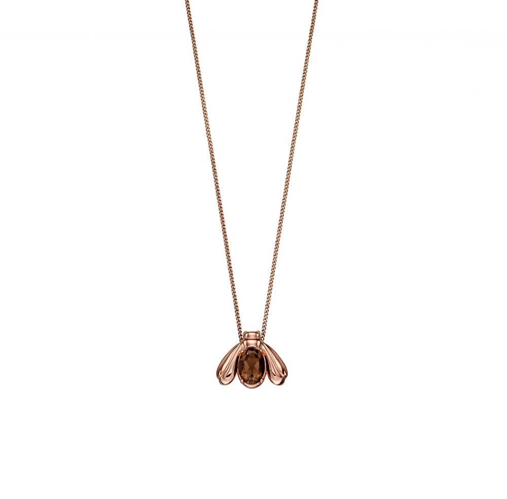 Rose Gold Smoky Quartz Bee Pendant In Most Current Bee Locket Element Necklaces (View 15 of 25)