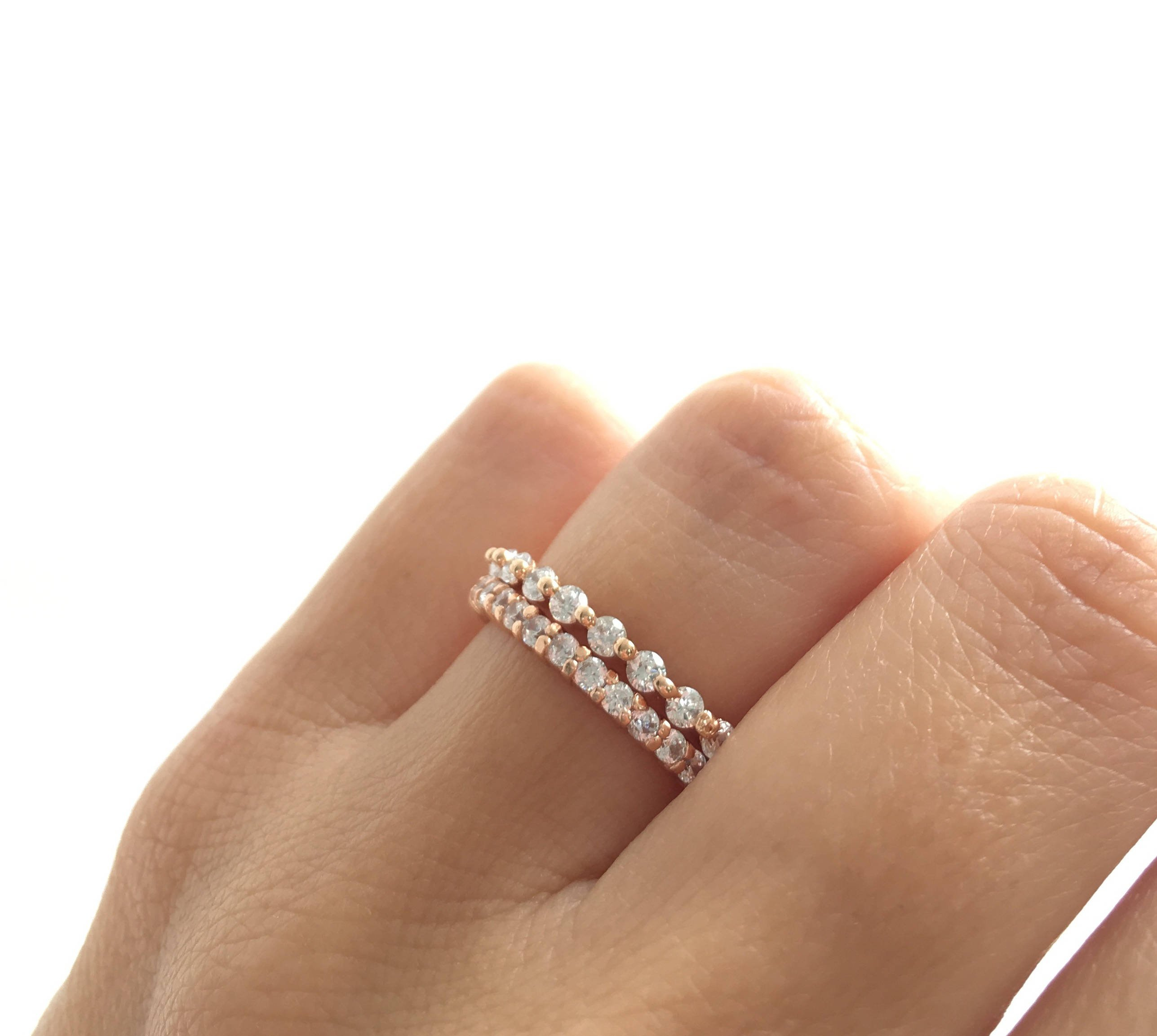 """Rose Gold Stackable Wedding Bands With 2019 Diamond Seven Stone """"x"""" Anniversary Bands In Sterling Silver And Rose Gold (View 16 of 25)"""
