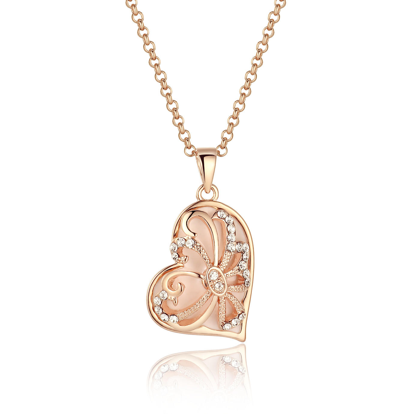 Rose Gold Tone Vintage Asymmetrical Heart Pendant Necklace And Earrings Set With Regard To Most Up To Date Asymmetrical Heart Necklaces (Gallery 23 of 25)