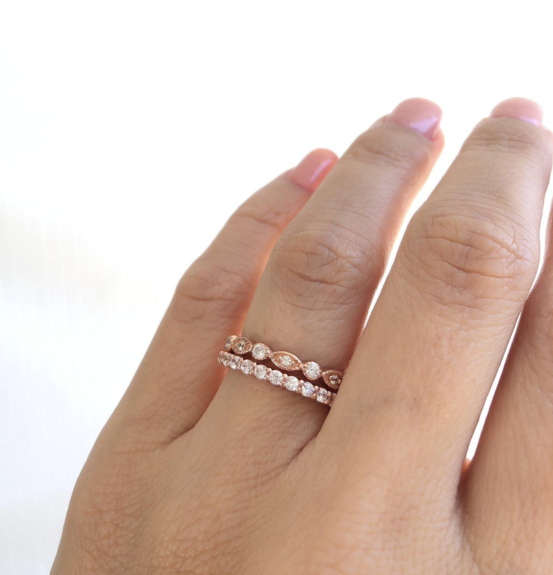 Rose Gold Wedding Bands. Eternity Band Ring. Fine Cz Stacking Rings. Rose  Gold Ring Set. Sterling Silver Rose Gold Plated Wedding Bands (View 17 of 25)