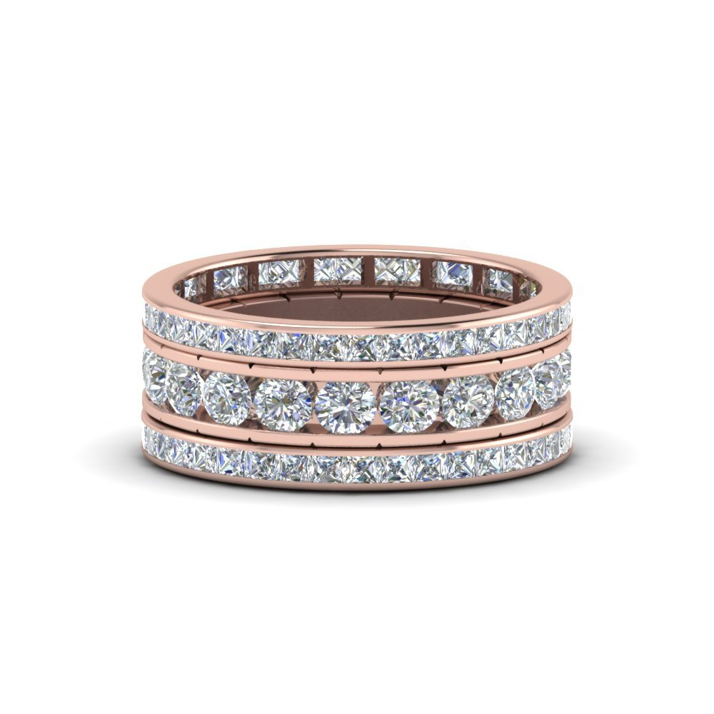 Rose Gold Wedding Bands For Him & Her | Fascinating Diamonds Within Most Recently Released Diamond Channel Anniversary Bands In Rose Gold (View 17 of 25)