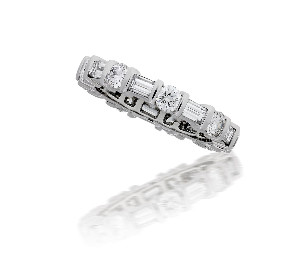 Round And Baguette Diamond Eternity Ring Intended For Latest Baguette And Round Diamond Alternating Bar Anniversary Bands In White Gold (View 21 of 25)