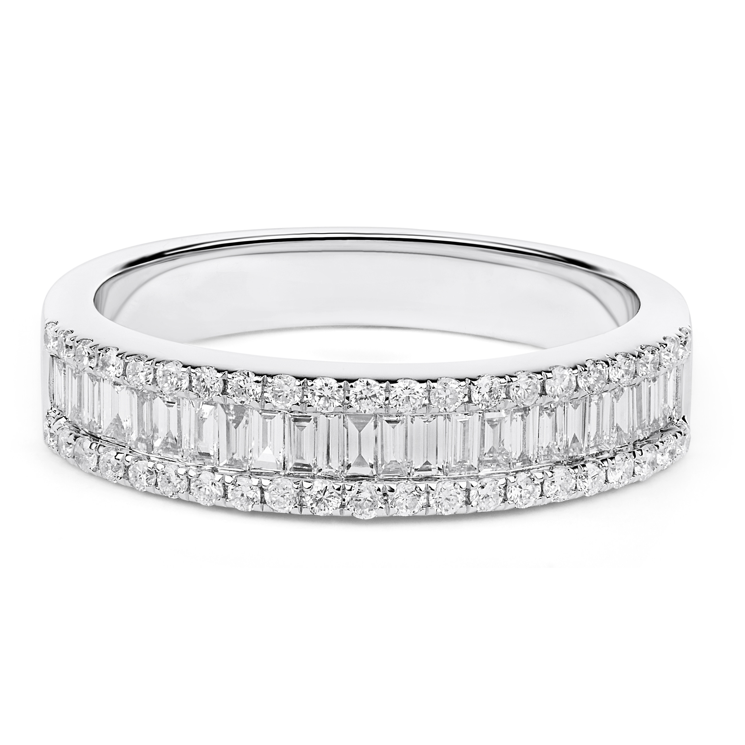 Round And Baguette Diamond Wedding Ring In 18K White Gold ( (View 21 of 25)