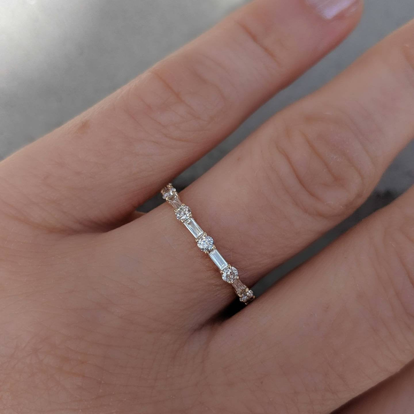 Round Baguette Diamond Anniversary Band – Kady. 1/2 Ctw. Half Eternity  Band (View 22 of 25)