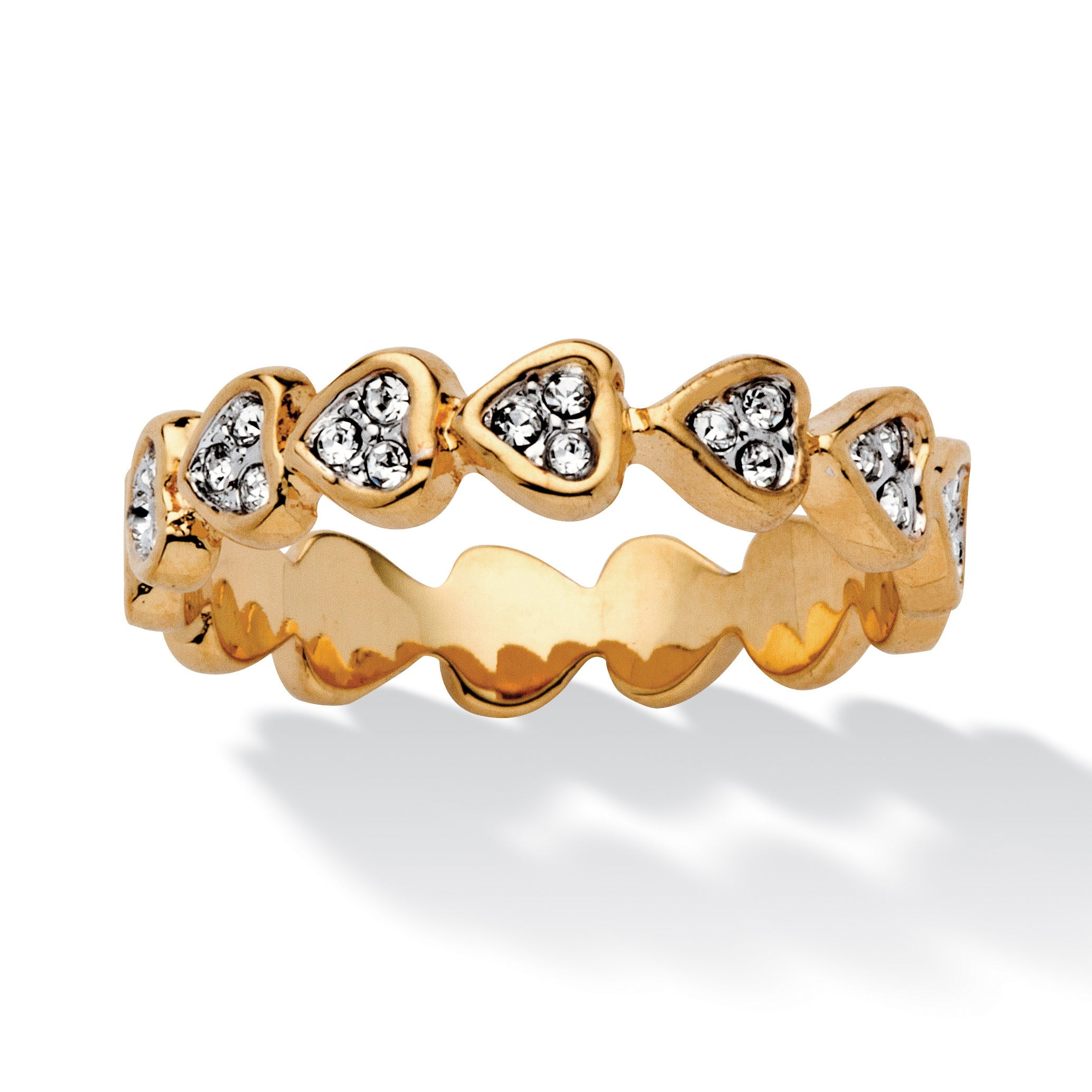 Round Crystal Yellow Gold Plated Band Of Hearts Ring Bold Fashion Throughout Best And Newest Band Of Hearts Rings (Gallery 15 of 25)