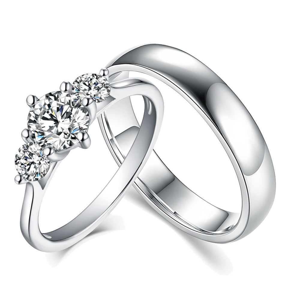 """Round Cut Three Stone White Sapphire 925 Sterling Silver Couple Rings Regarding 2019 Diamond Seven Stone """"s"""" Anniversary Bands In Sterling Silver (Gallery 19 of 25)"""