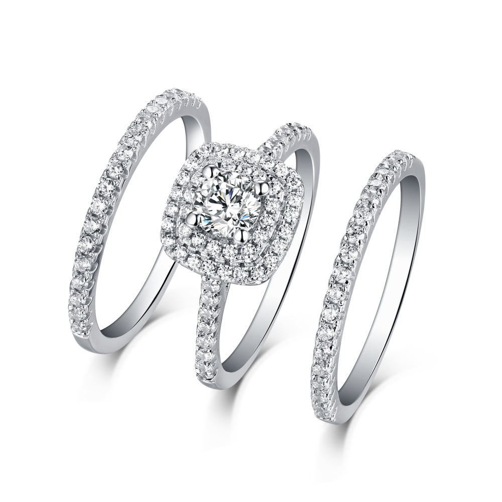 """Round Cut White Sapphire 3 Piece 925 Sterling Silver Halo Ring Sets For Latest Diamond Seven Stone """"s"""" Anniversary Bands In Sterling Silver (View 14 of 25)"""