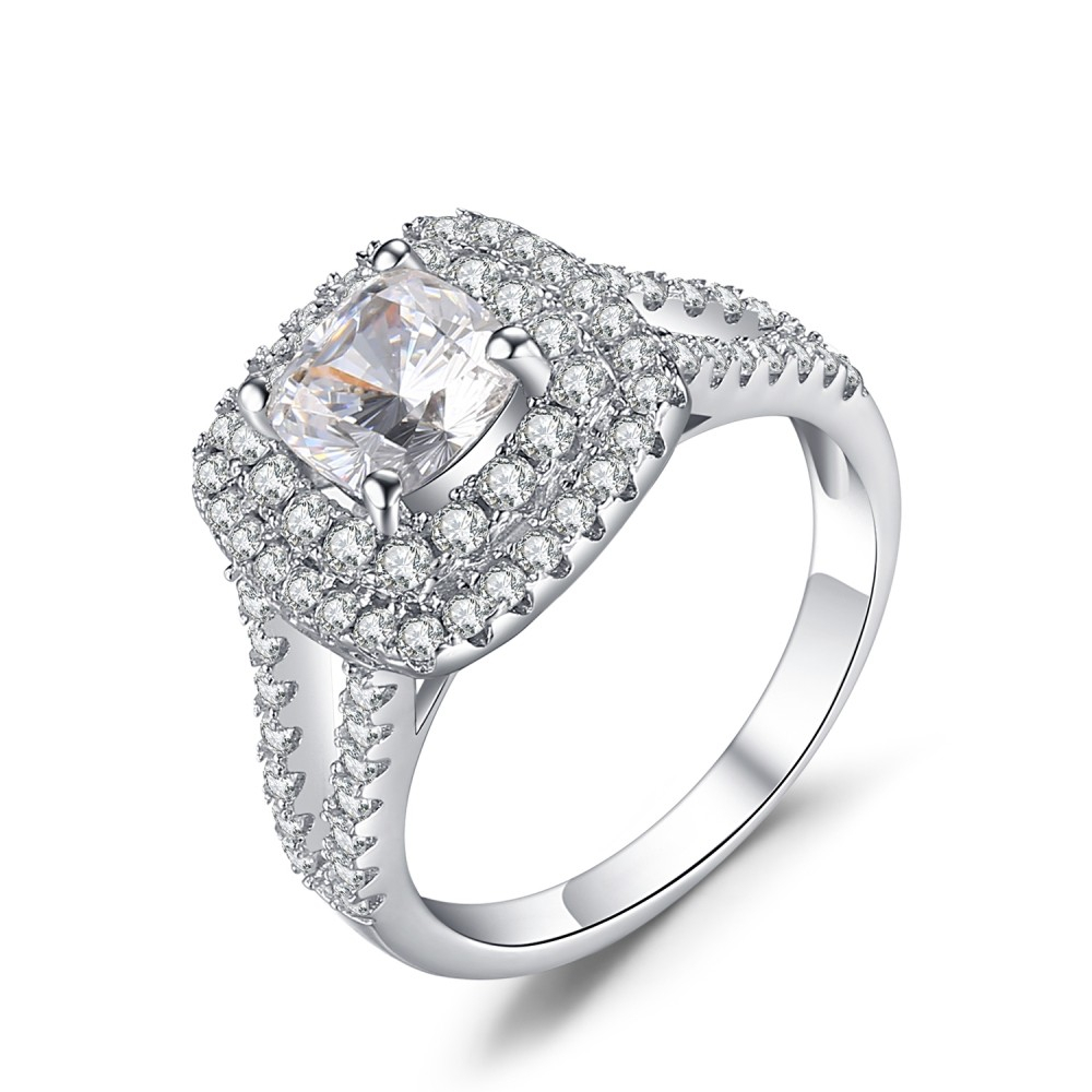 """Round Cut White Sapphire 925 Sterling Silver Engagement Ring Pertaining To Current Diamond Seven Stone """"s"""" Anniversary Bands In Sterling Silver (View 12 of 25)"""