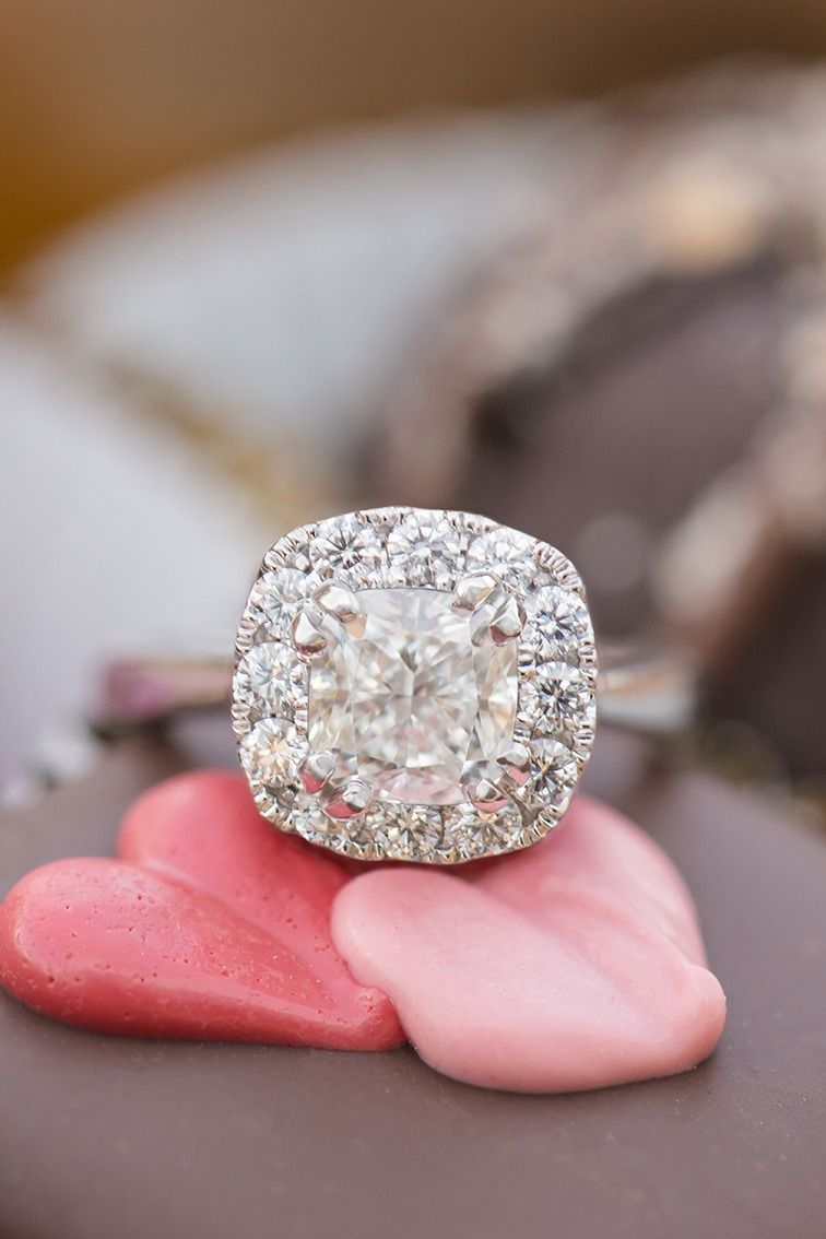 Round Diamond Halo Engagement Ring In 2019 | Halo Rings | Rings Intended For Best And Newest Round Sparkle Halo Rings (View 16 of 25)