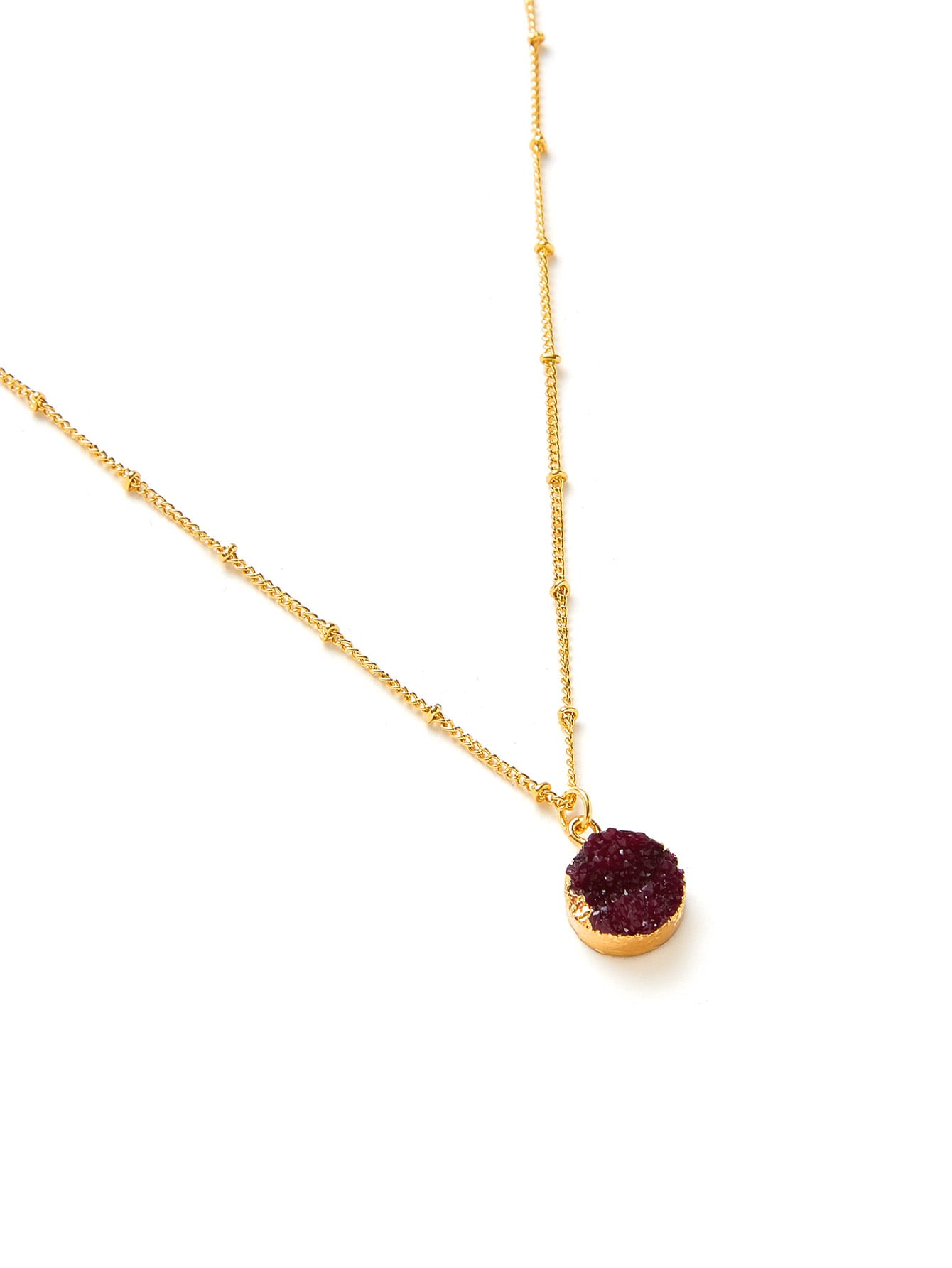 Round Pendant Beaded Chain Necklace For Recent Beaded Chain Necklaces (Gallery 22 of 25)