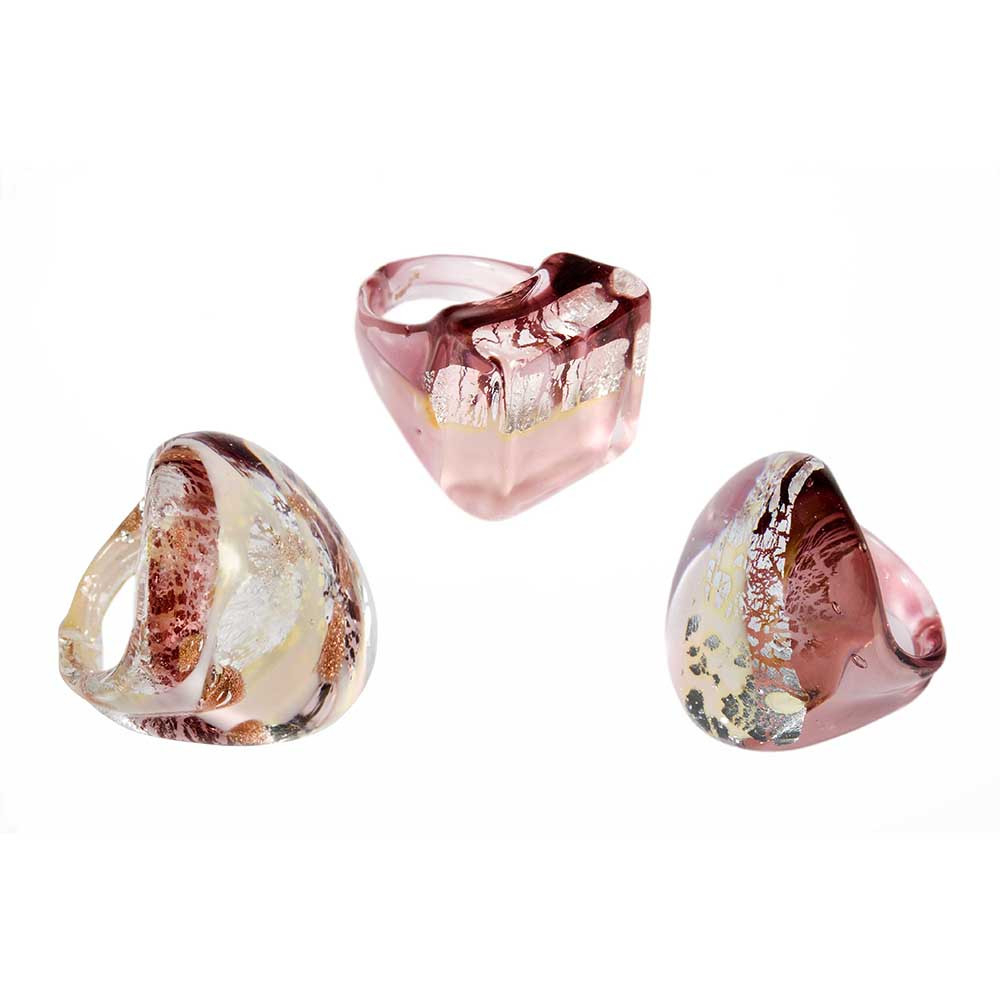 Round Ring Murano Glass Rose With Silver Leaf 100% Original Italian Within Best And Newest Pink Murano Glass Leaf Rings (View 2 of 25)