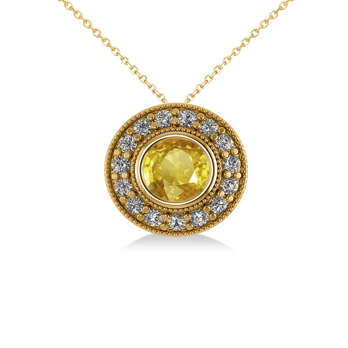 Round Yellow Sapphire & Diamond Halo Pendant Necklace 14K Round Yellow Gold ( (View 6 of 25)