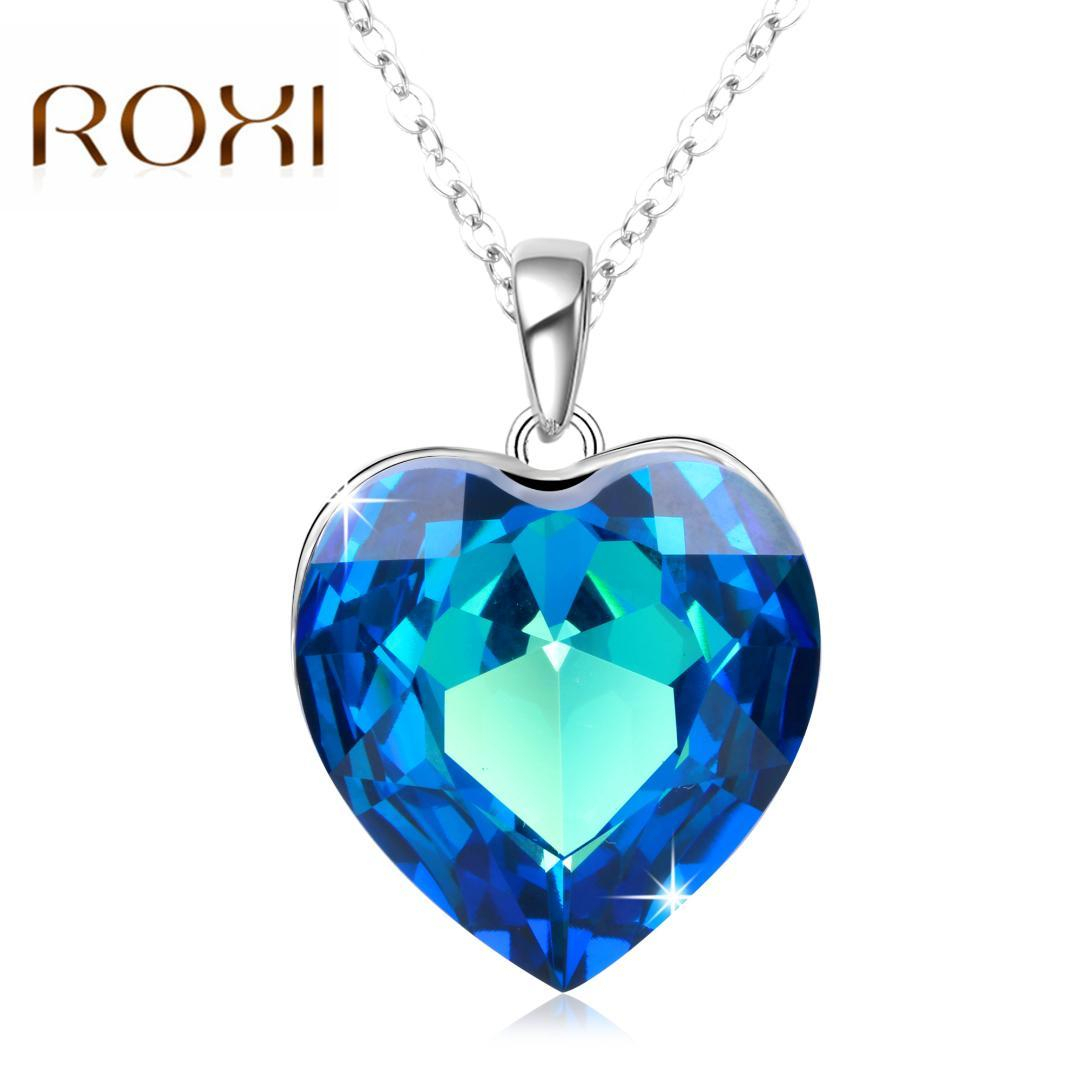 Roxi Silver Chain Crystals From Austrian Necklaces Women Heart Pendant Blue Rhinestone Chic Fashion Jewelry Gift Collier Femme With Most Recently Released Ice Crystal Heart Collier Necklaces (View 11 of 25)
